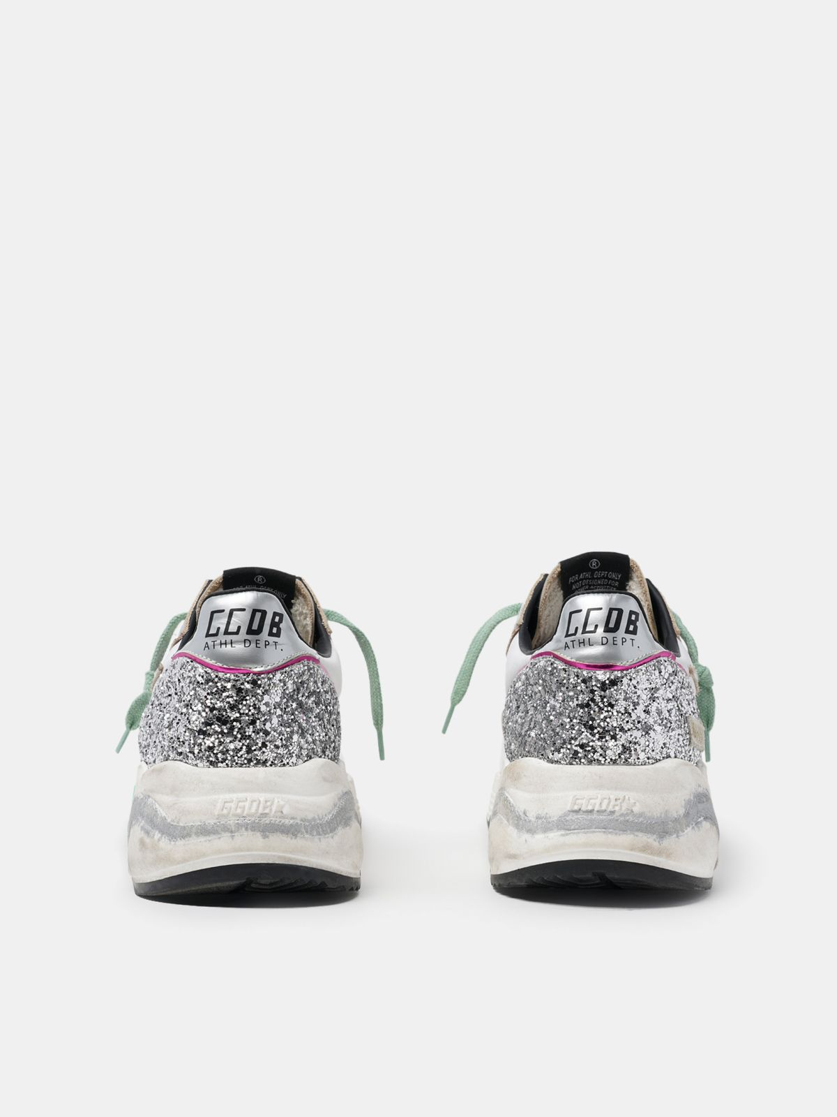 Golden Goose - Silver Running Sole sneakers with glitter and fuchsia edging in