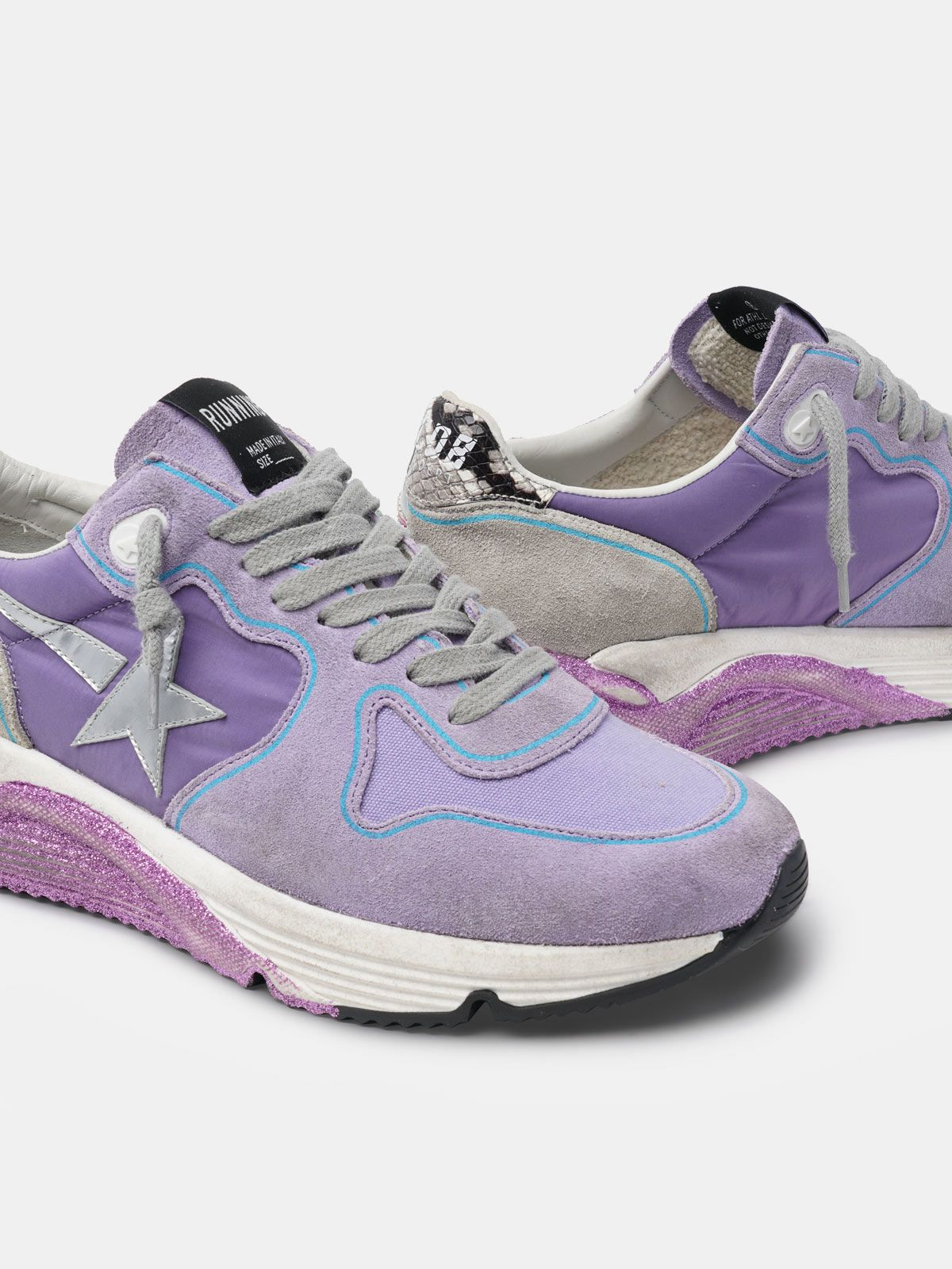 Golden Goose - Lavender Running Sole sneakers with glittery sole and silver star in