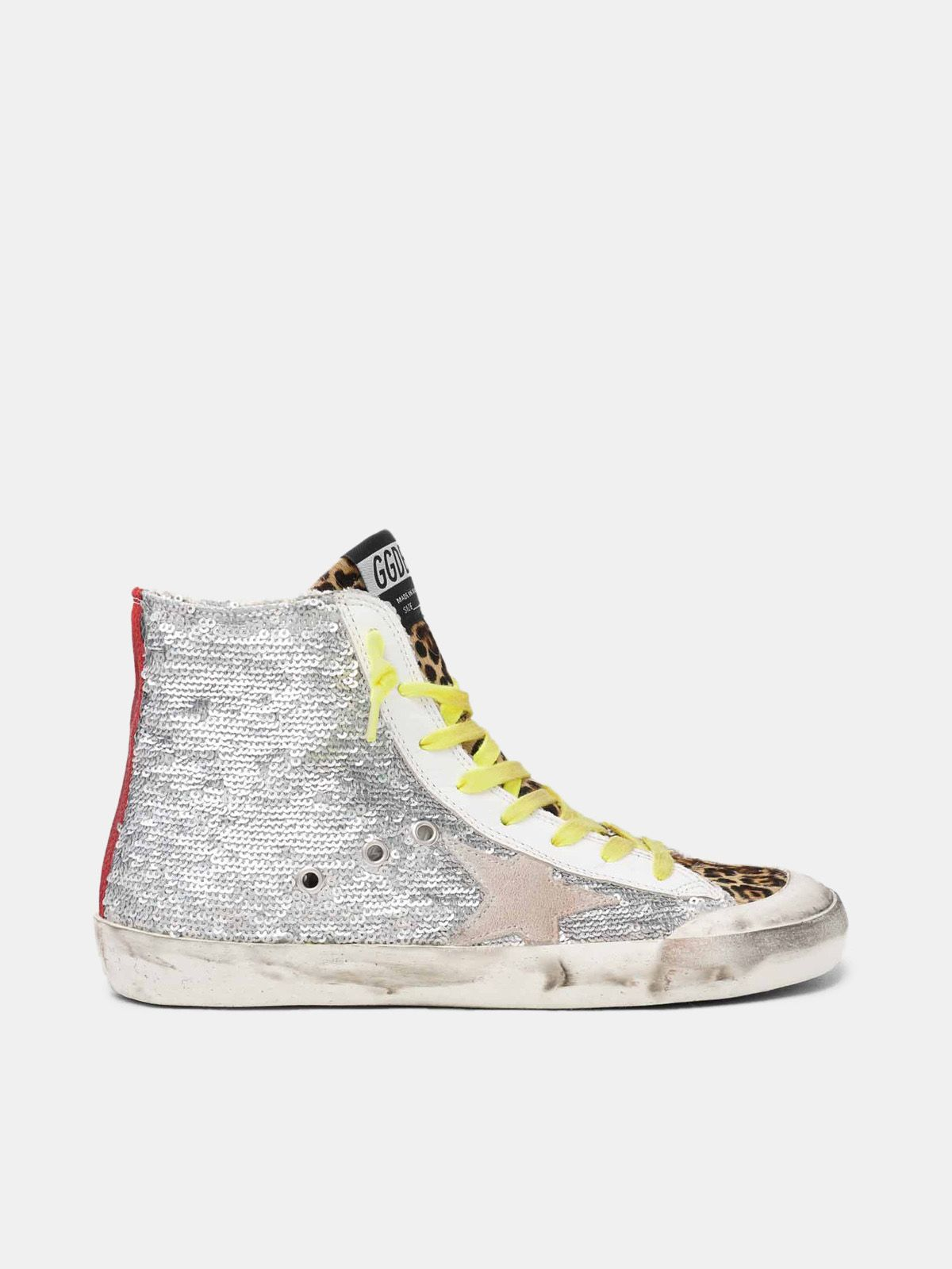 Francy sneakers with silver sequins and leopard-print pony skin