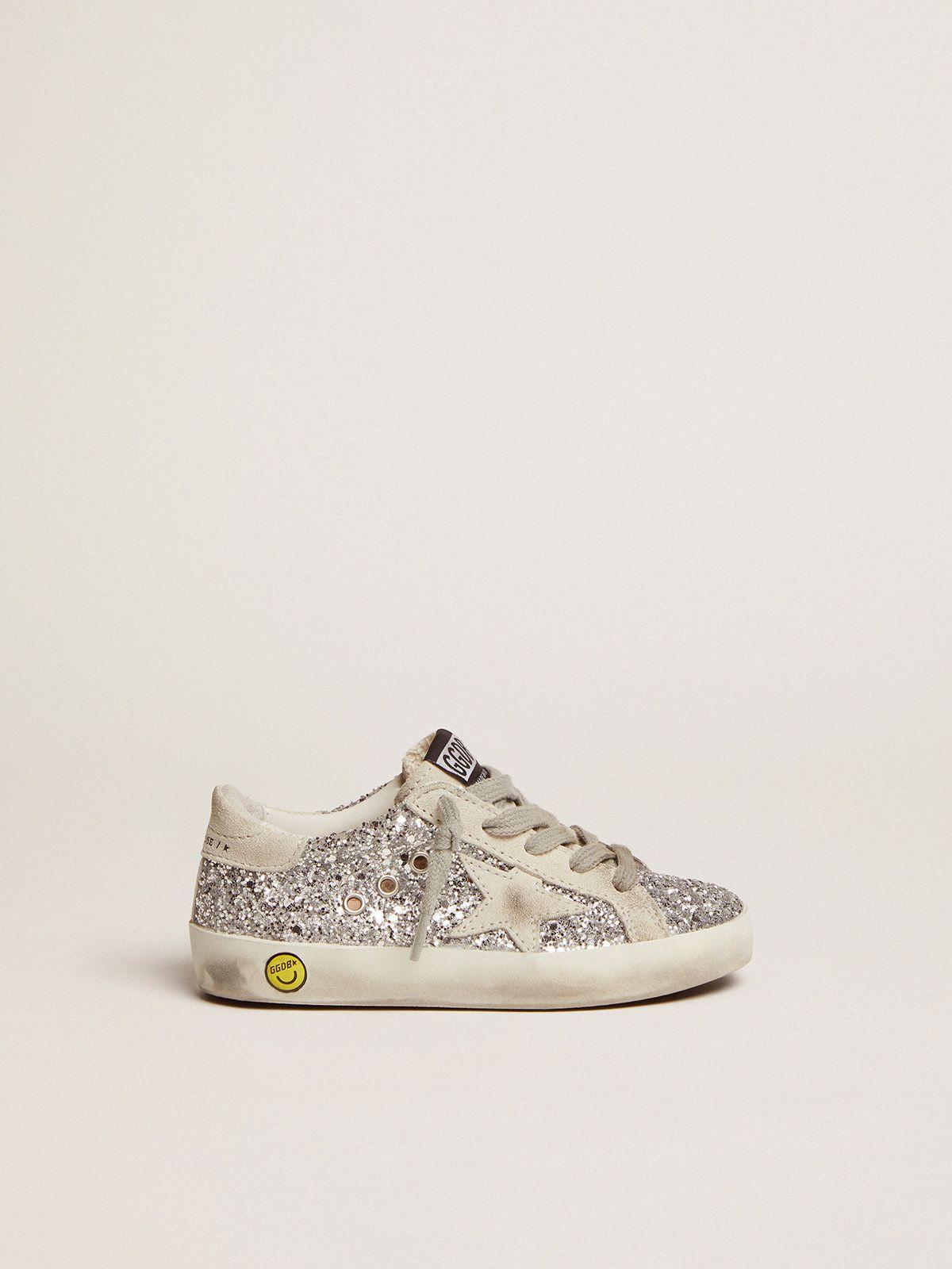 Golden Goose - Sneakers Super-Star con glitter argentati in