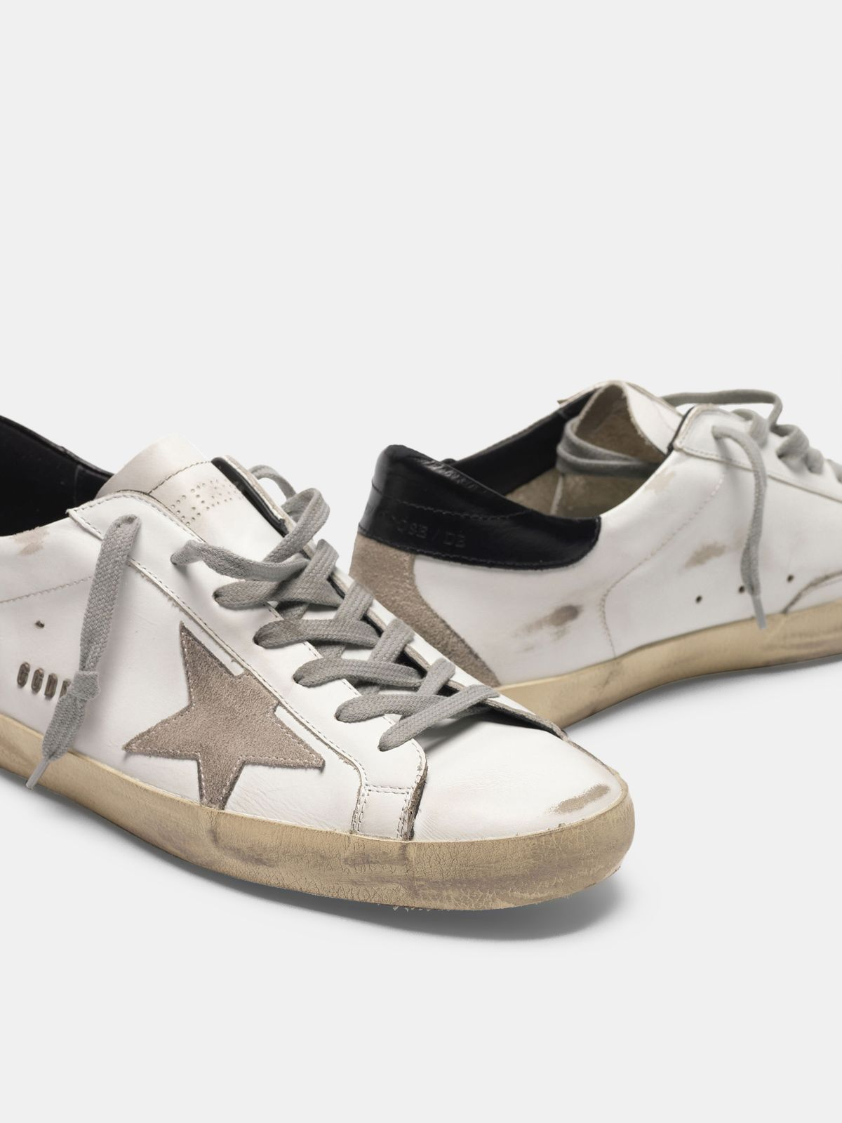 Golden Goose - Super-Star sneakers with black heel tab and metal stud lettering in