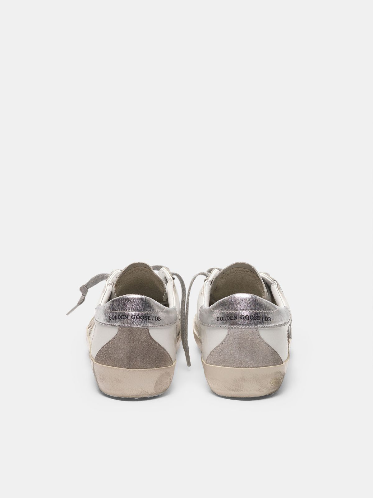 Golden Goose - Super-Star sneakers with silver heel tab and metal stud lettering in