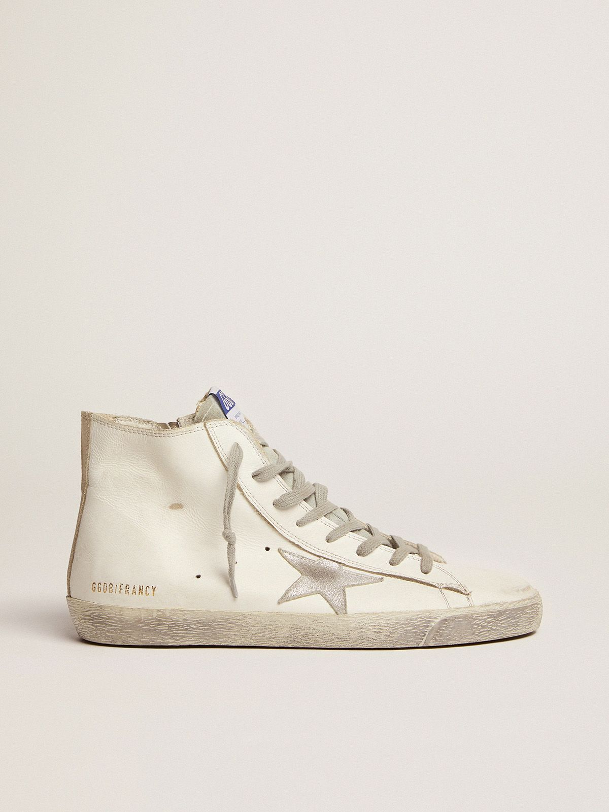 Golden Goose - Sneakers Francy in pelle con stella in camoscio argentato in