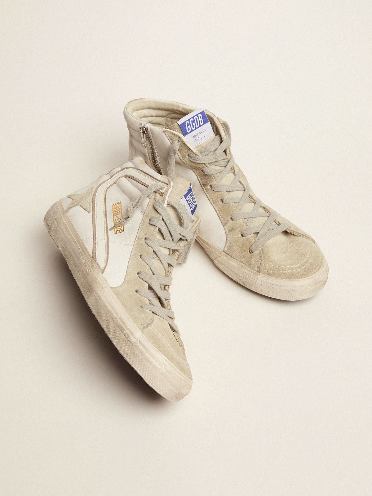 Golden Goose - Slide sneakers in leather with suede star and details in