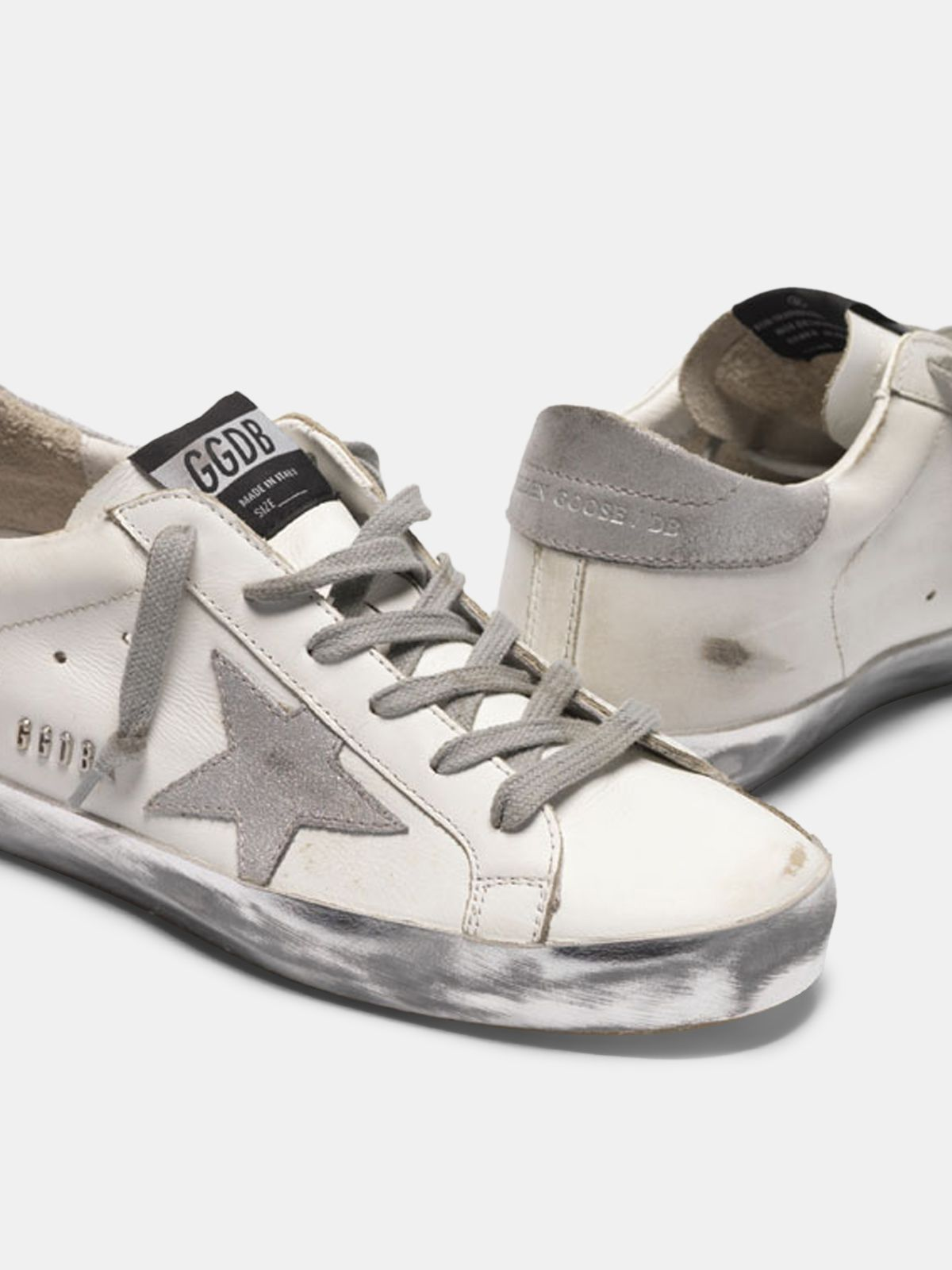 Golden Goose - Sneakers Super-Star con foxing sparkle argento e metal studs lettering in