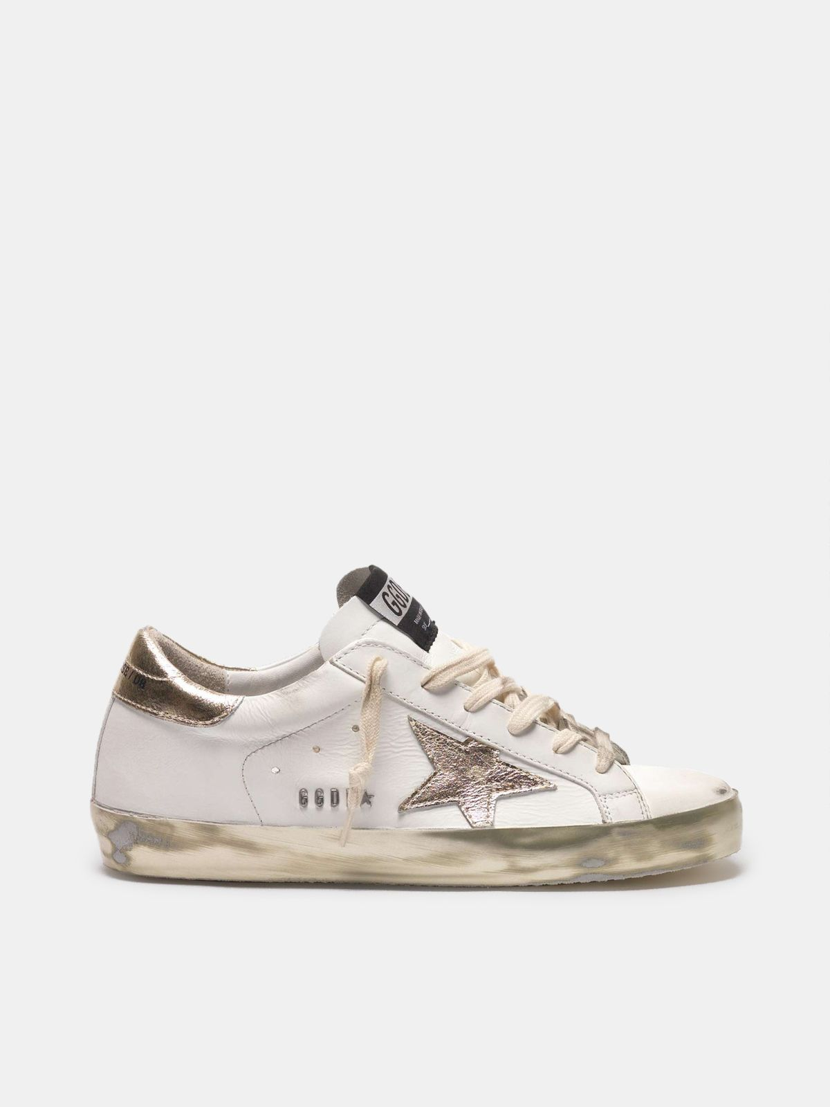 Super-Star sneakers with gold sparkle foxing and metal stud lettering