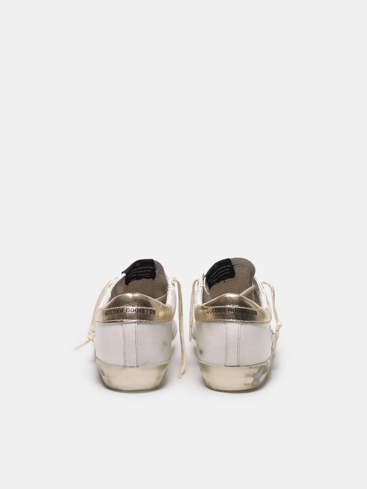 Golden Goose - Super-Star sneakers with gold sparkle foxing and metal stud lettering in