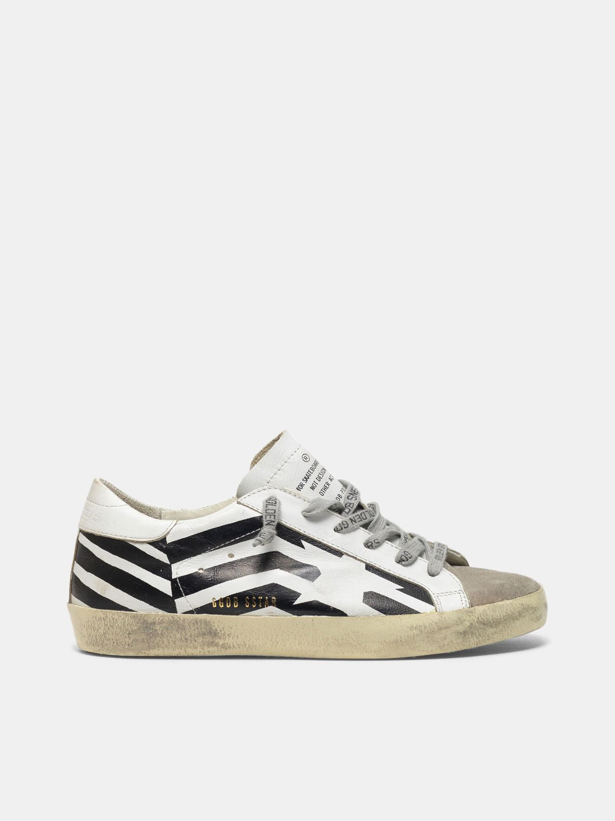 Golden Goose - Sneakers Super-Star in pelle con stampa flag in
