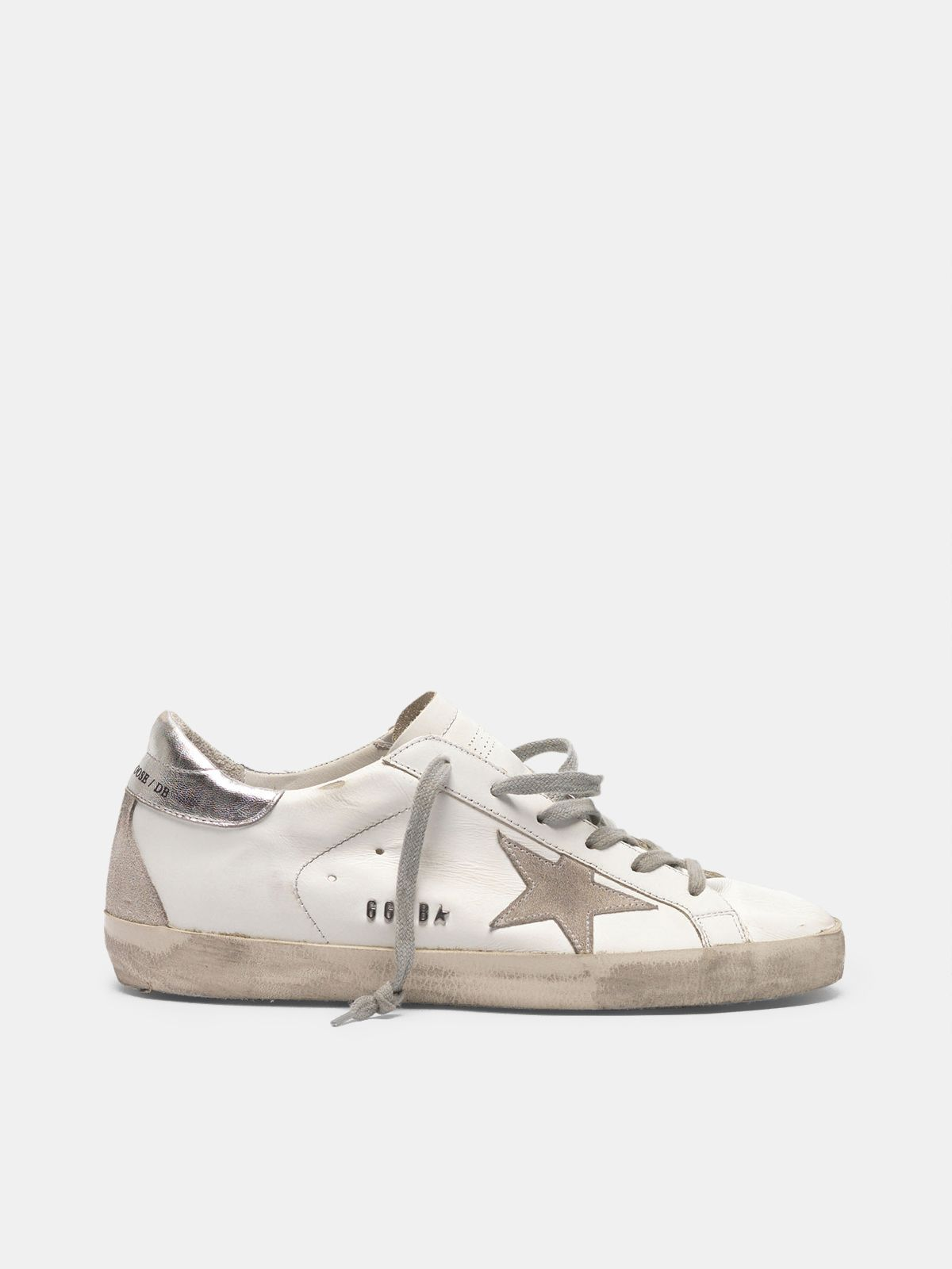 Golden Goose - Super-Star sneakers with silver-coloured heel tab and metal stud lettering in