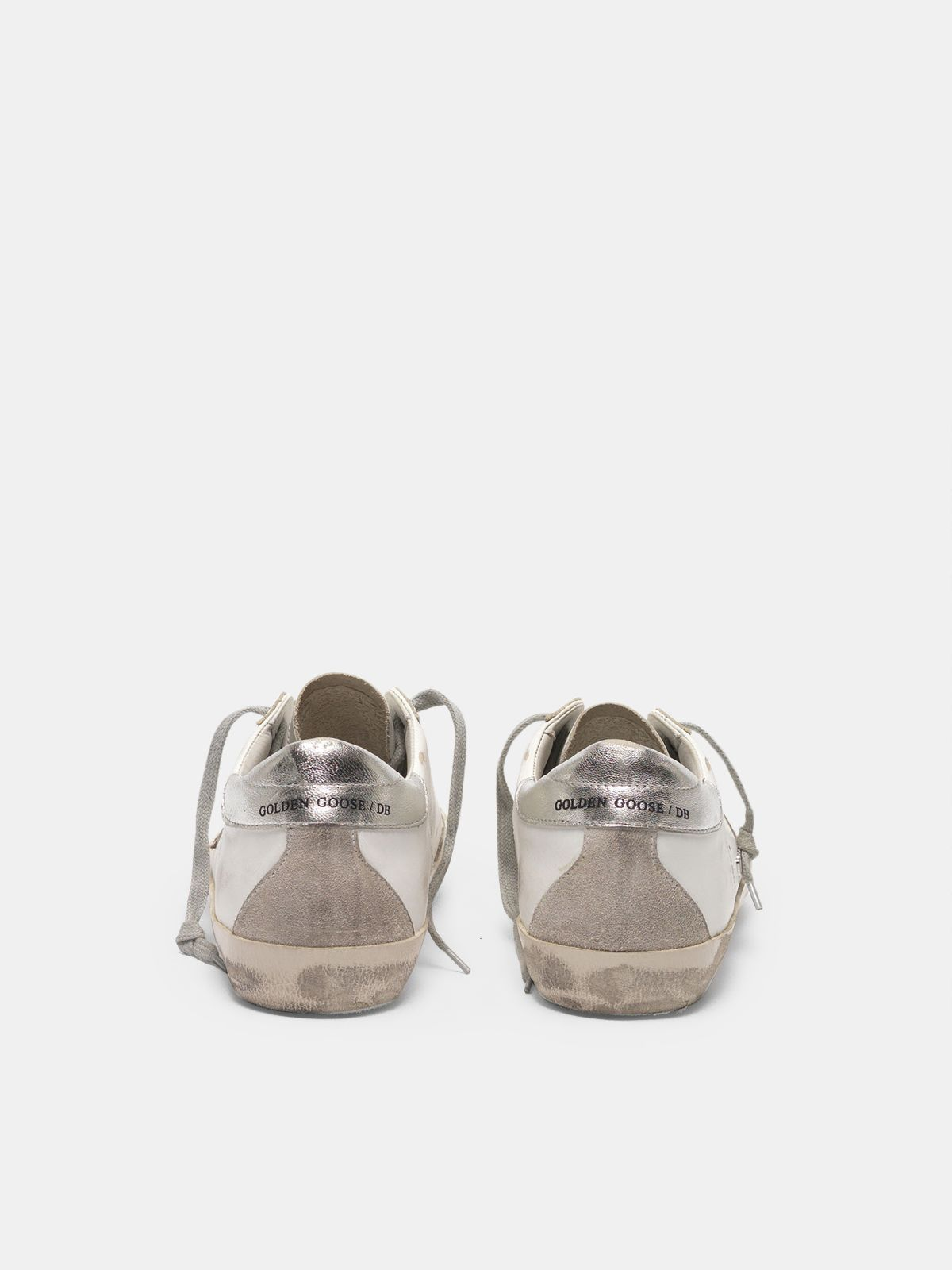 Golden Goose - Zapatillas deportivas Super-Star con refuerzo de talón plateado y motivo de letras con tachas de metal in