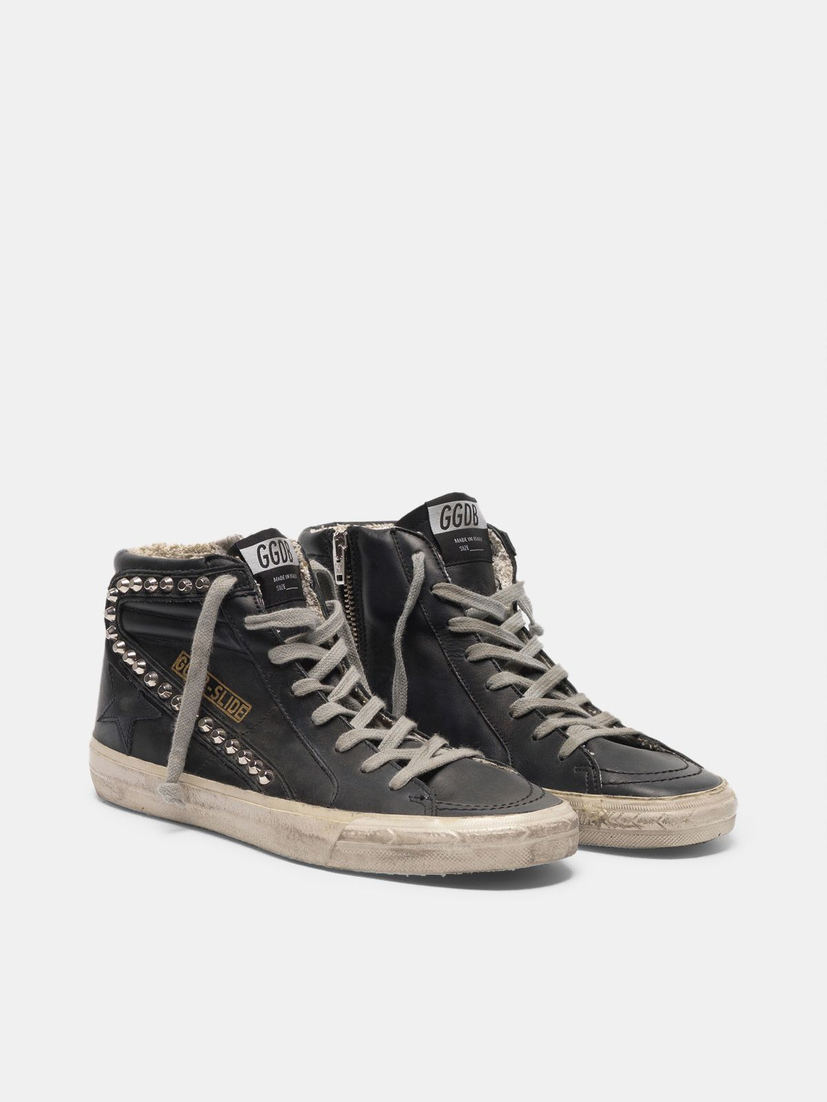 Golden Goose - Sneakers Slide con borchie applicate in