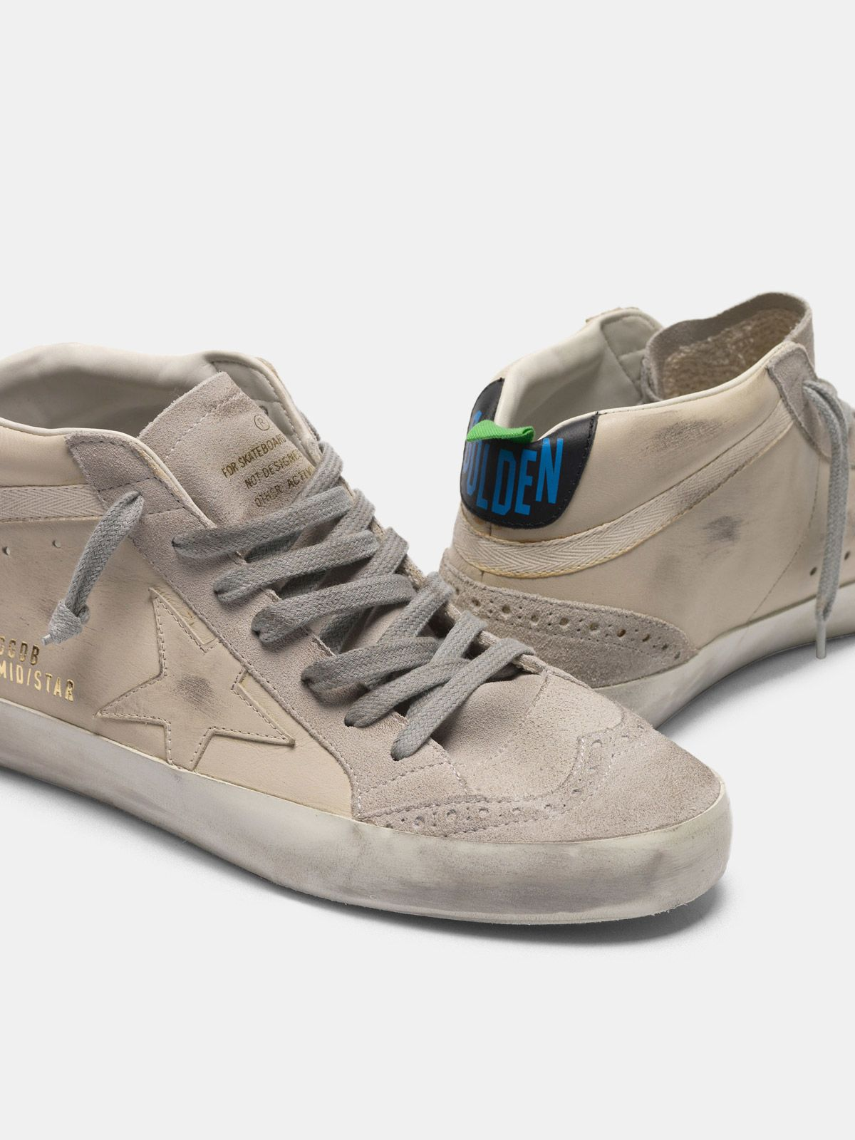 Golden Goose - Mid Star sneakers in smooth leather and suede in