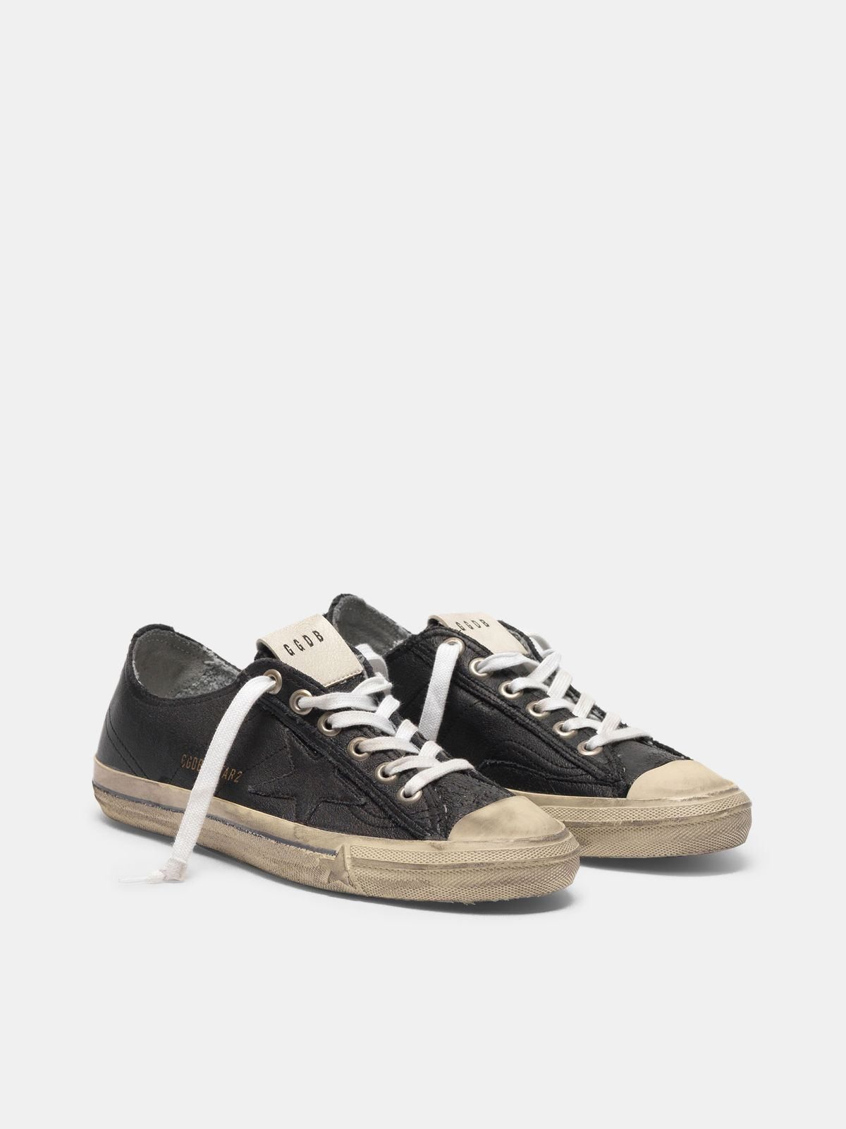 Golden Goose - Sneakers V-STAR in pelle effetto vintage in