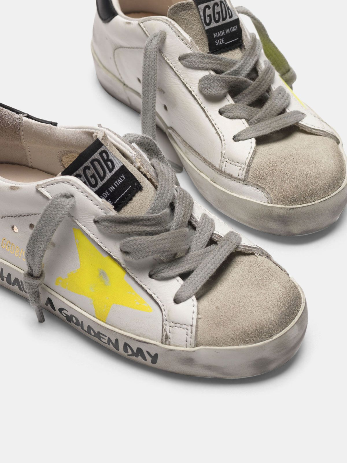 Golden Goose - Super-Star sneakers with painted star and lettering on the foxing in
