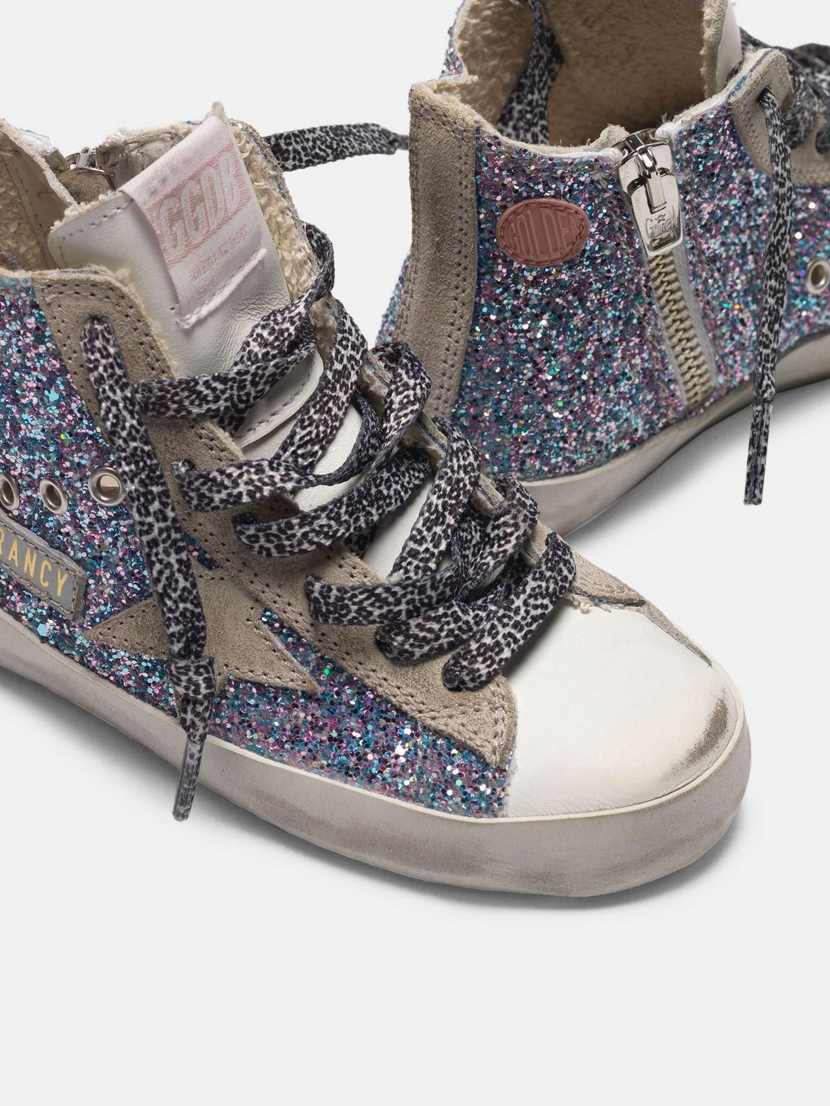 Golden Goose - Zapatillas deportivas Francy blancas de piel y purpurina multicolor in