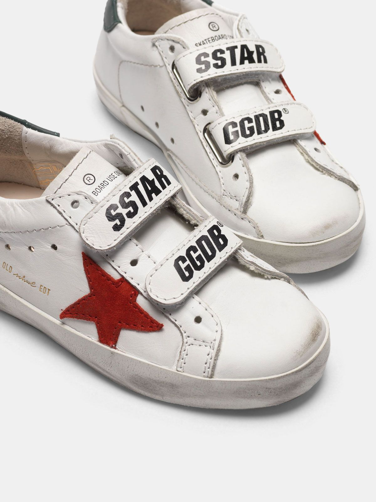Golden Goose - White Old School sneakers with red star and green heel tab in