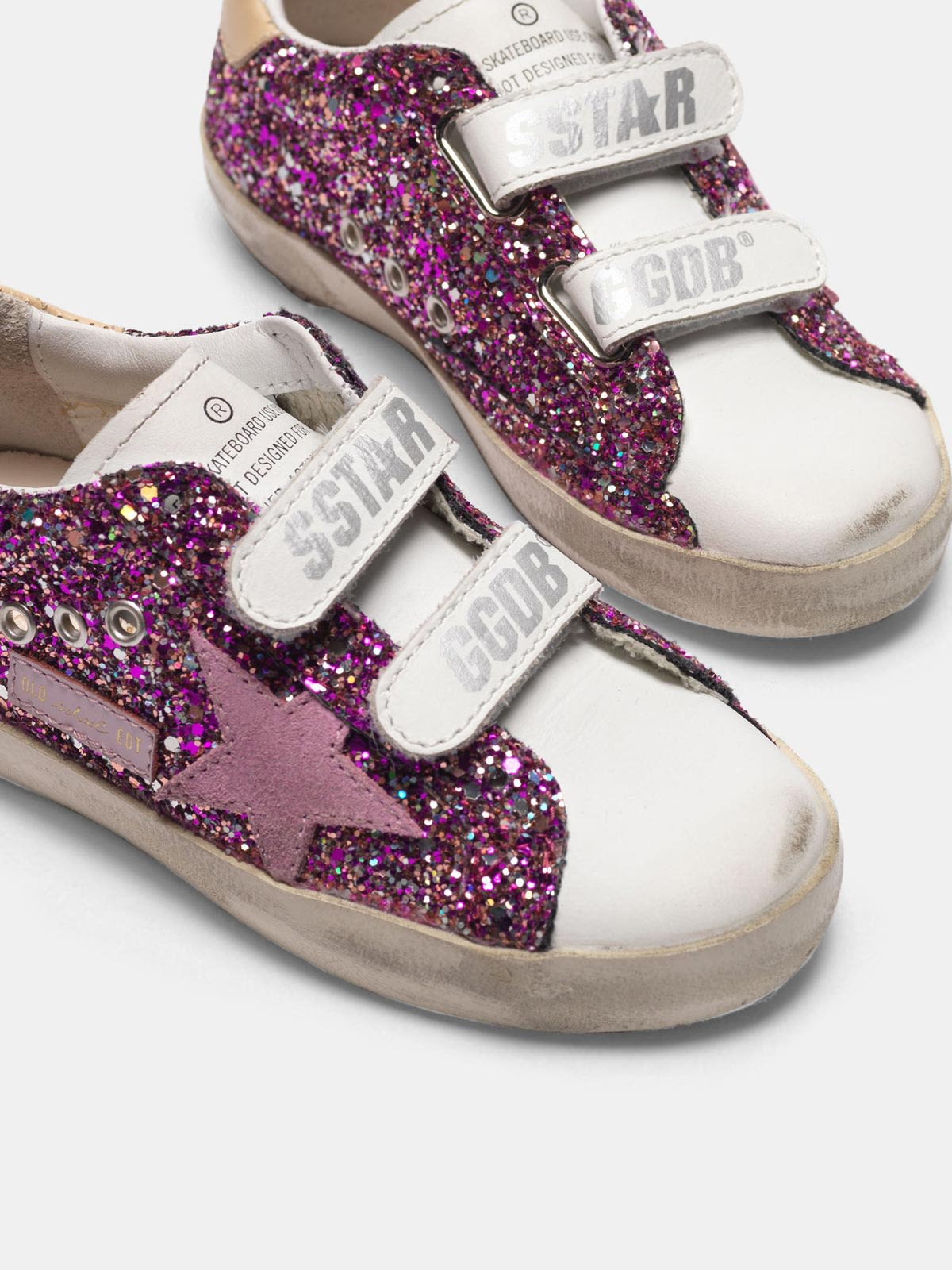 Golden Goose - Old School sneakers with fuchsia glitter and pink star in
