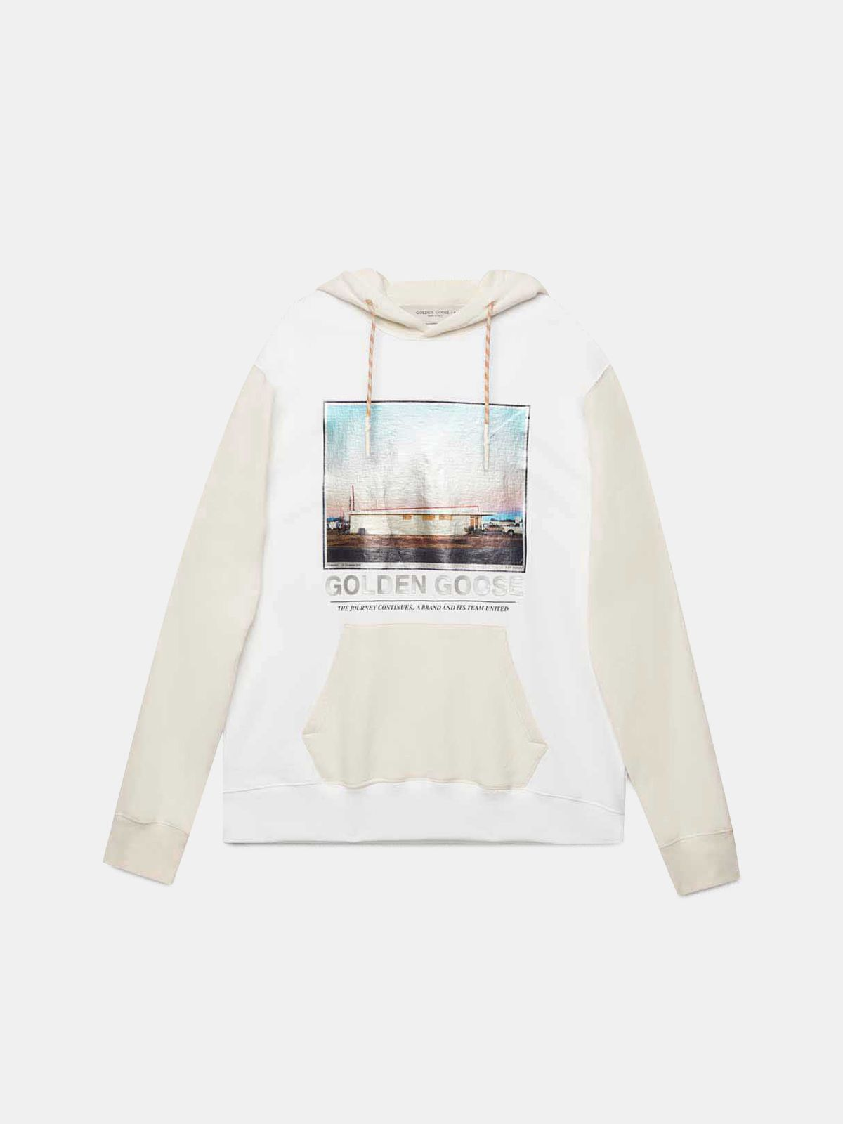 Golden Goose - White Nicholas sweatshirt with hood with photographic print in