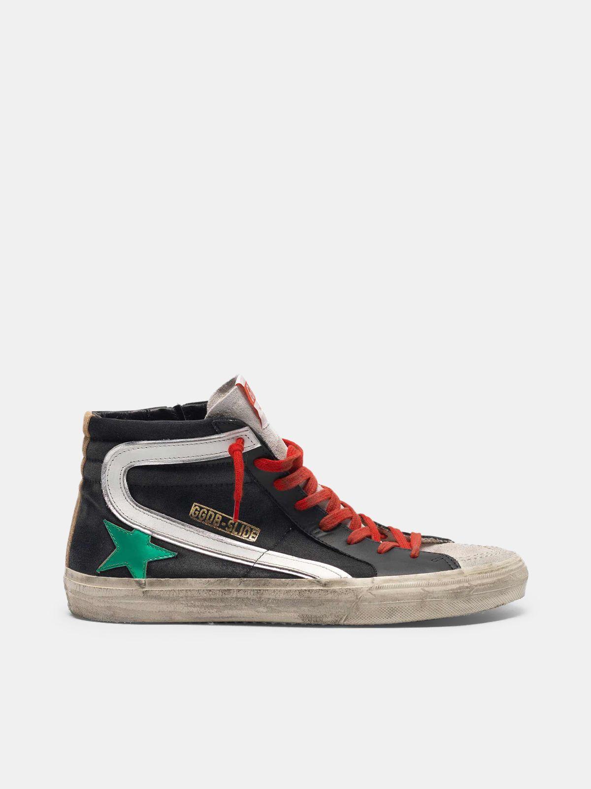 Sneakers Slide noires en toile avec étoile vert métallisé