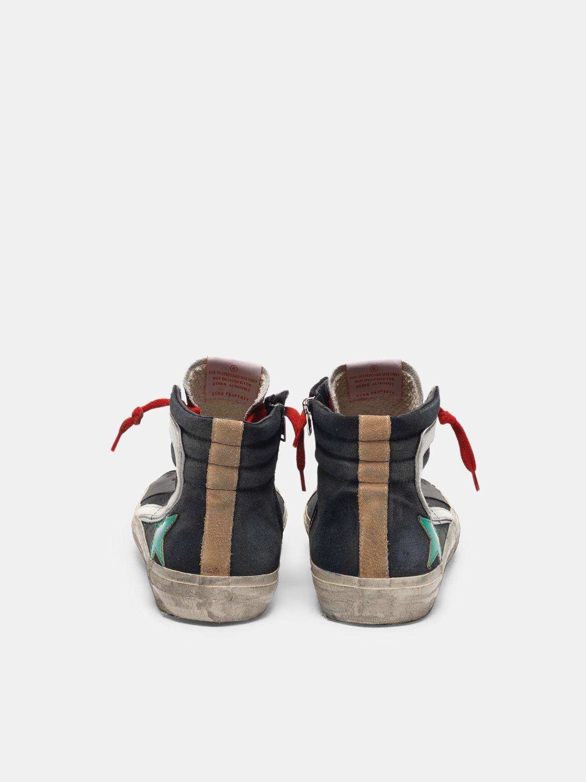 Golden Goose - Black Slide sneakers in canvas with metallic green star in
