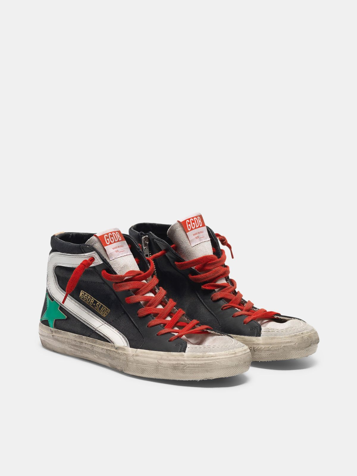 Golden Goose - Sneakers Slide nere in tela con stella verde metallizzata in