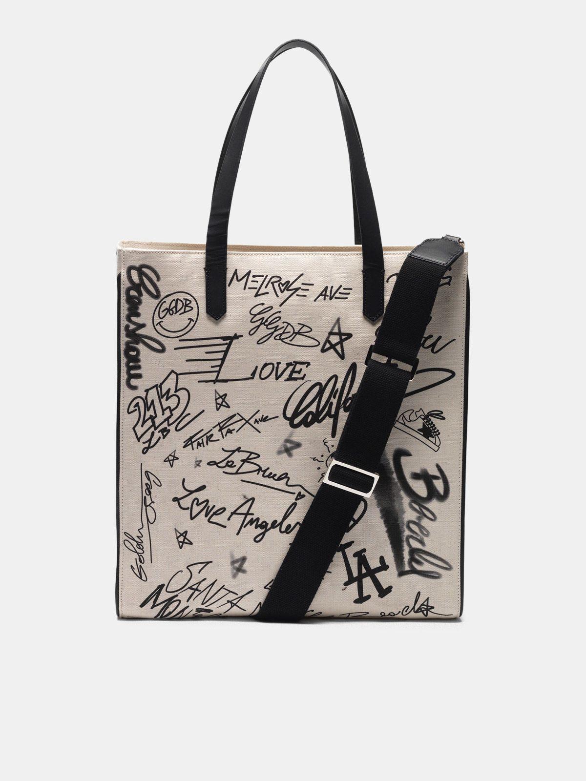Golden Goose - Graffiti print North-South California Bag in
