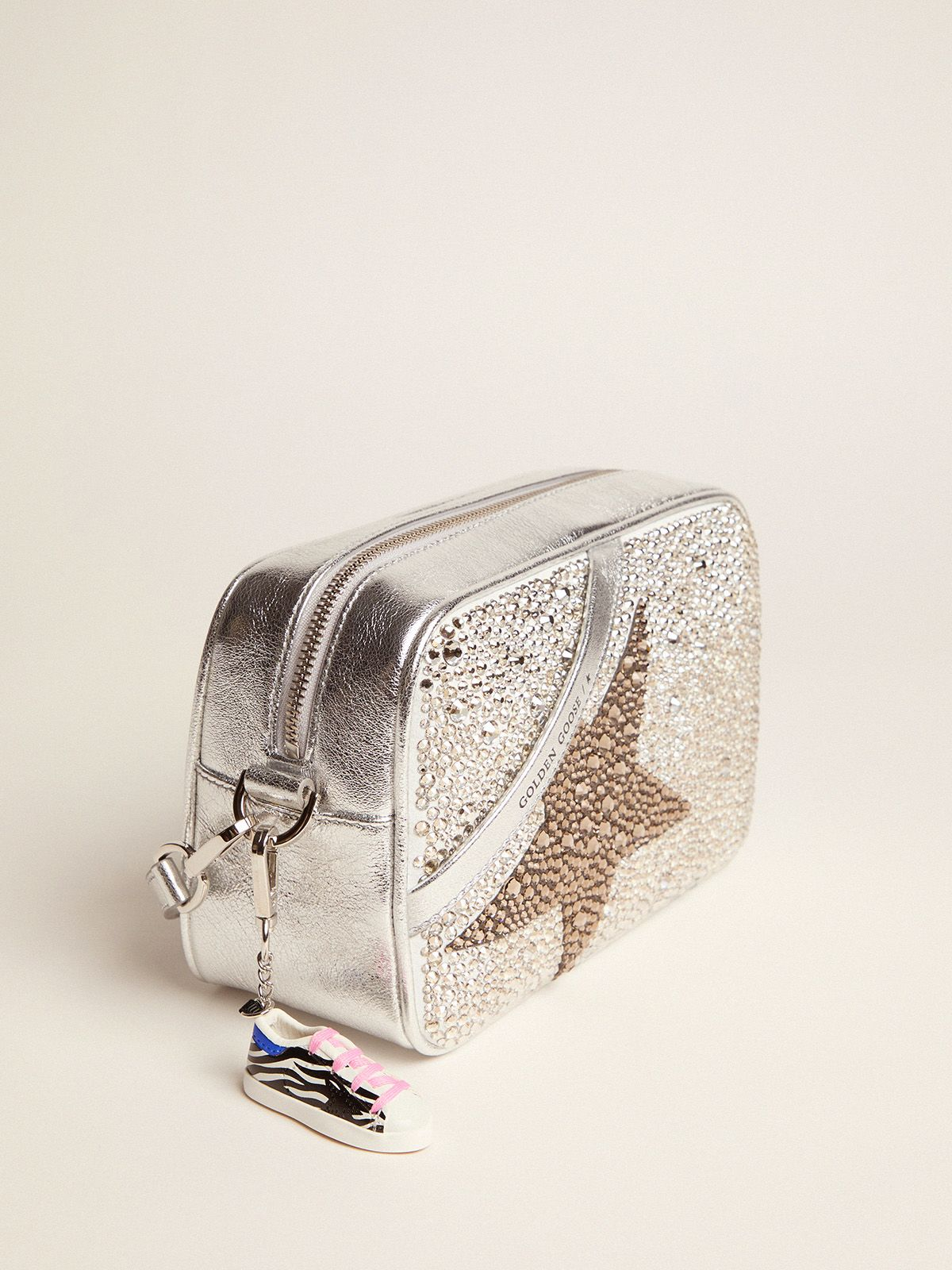 Golden Goose - Borsa Star Bag in pelle laminata con Swarovski  in