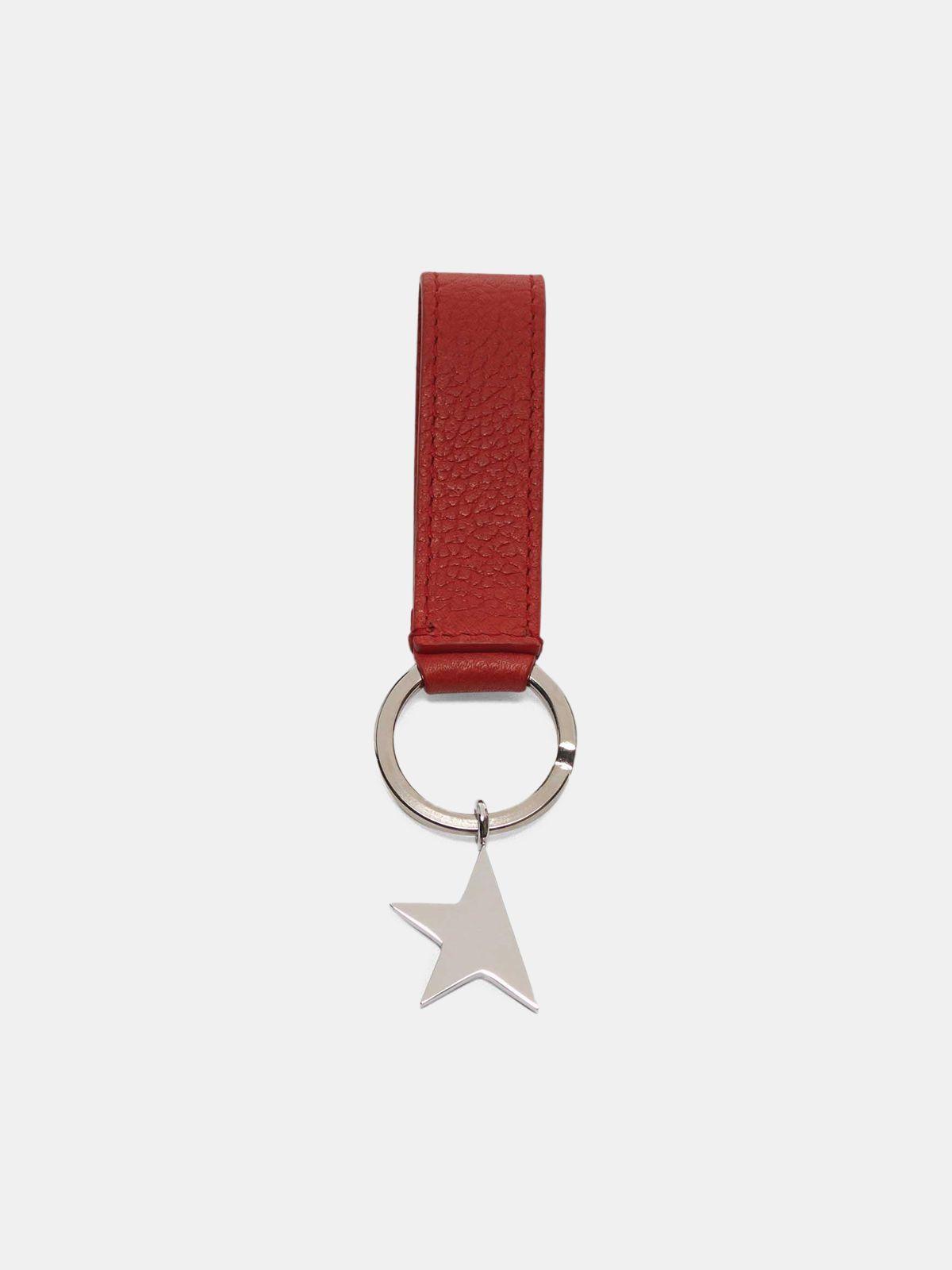 Golden Goose - Portachiavi Star Keyring rosso con ciondolo argento in