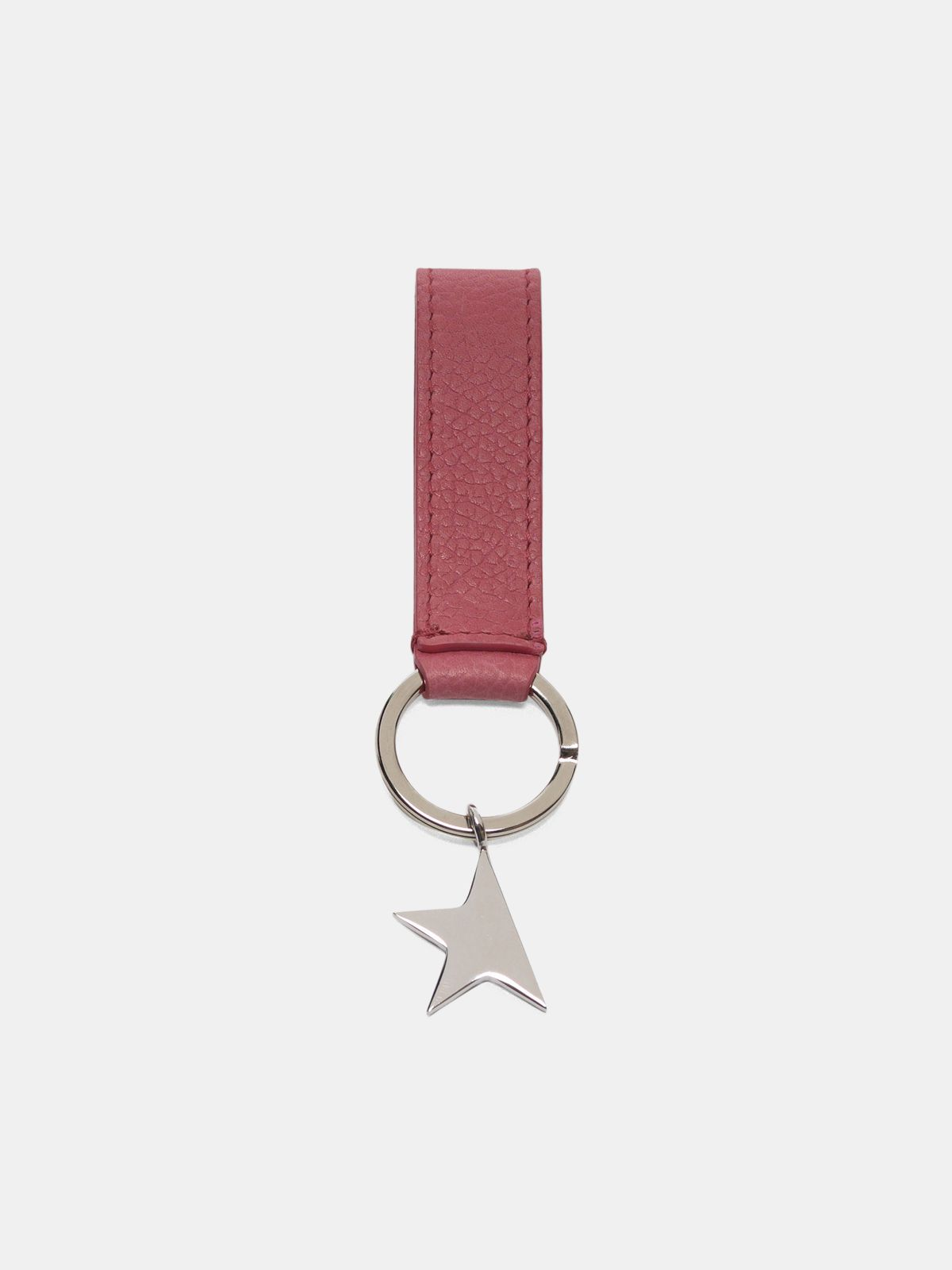 Golden Goose - Pink Star Keyring with silver pendant in