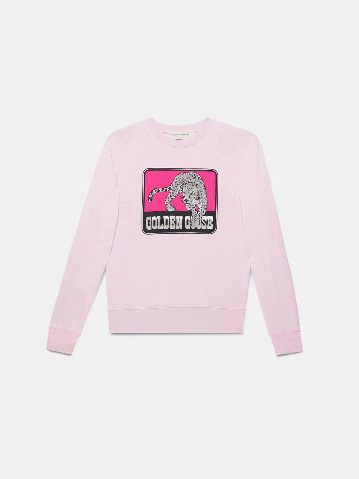 Golden Goose - Pink Catarina sweatshirt with jaguar print in