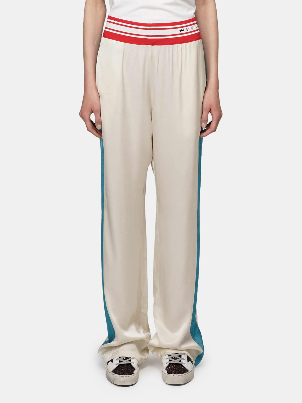 Golden Goose - Betty joggers in beige with blue bands and elasticated waistband in