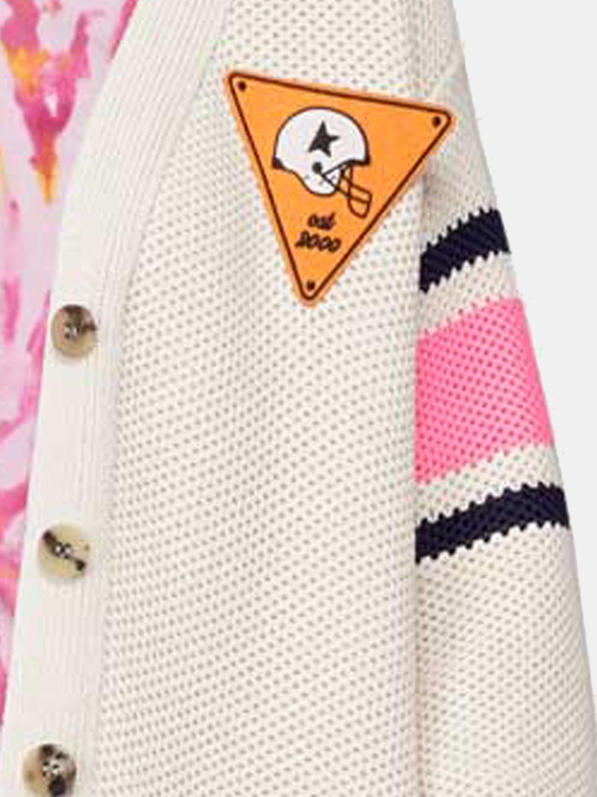 Golden Goose - Katy cardigan in cotton piquet with embroidery on the back in