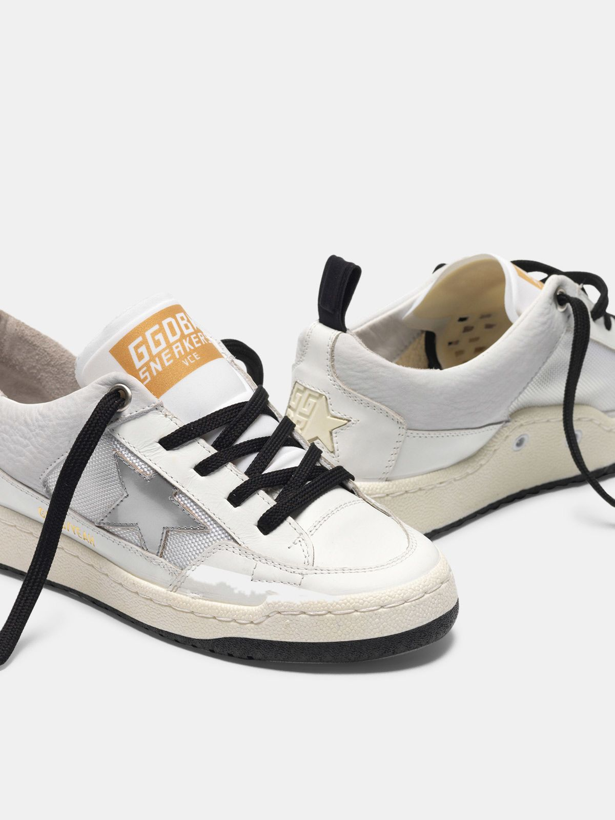 Golden Goose - White Yeah! sneakers with silver star in