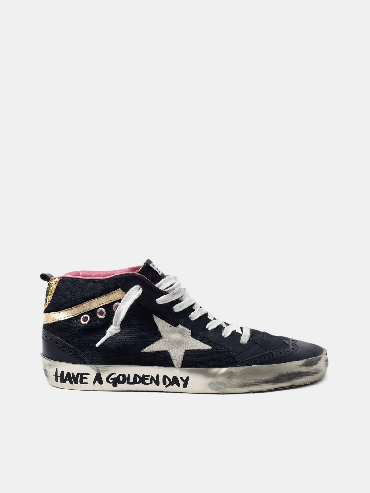 Golden Goose - Black Mid-Star sneakers with gold-coloured inserts and glitter in