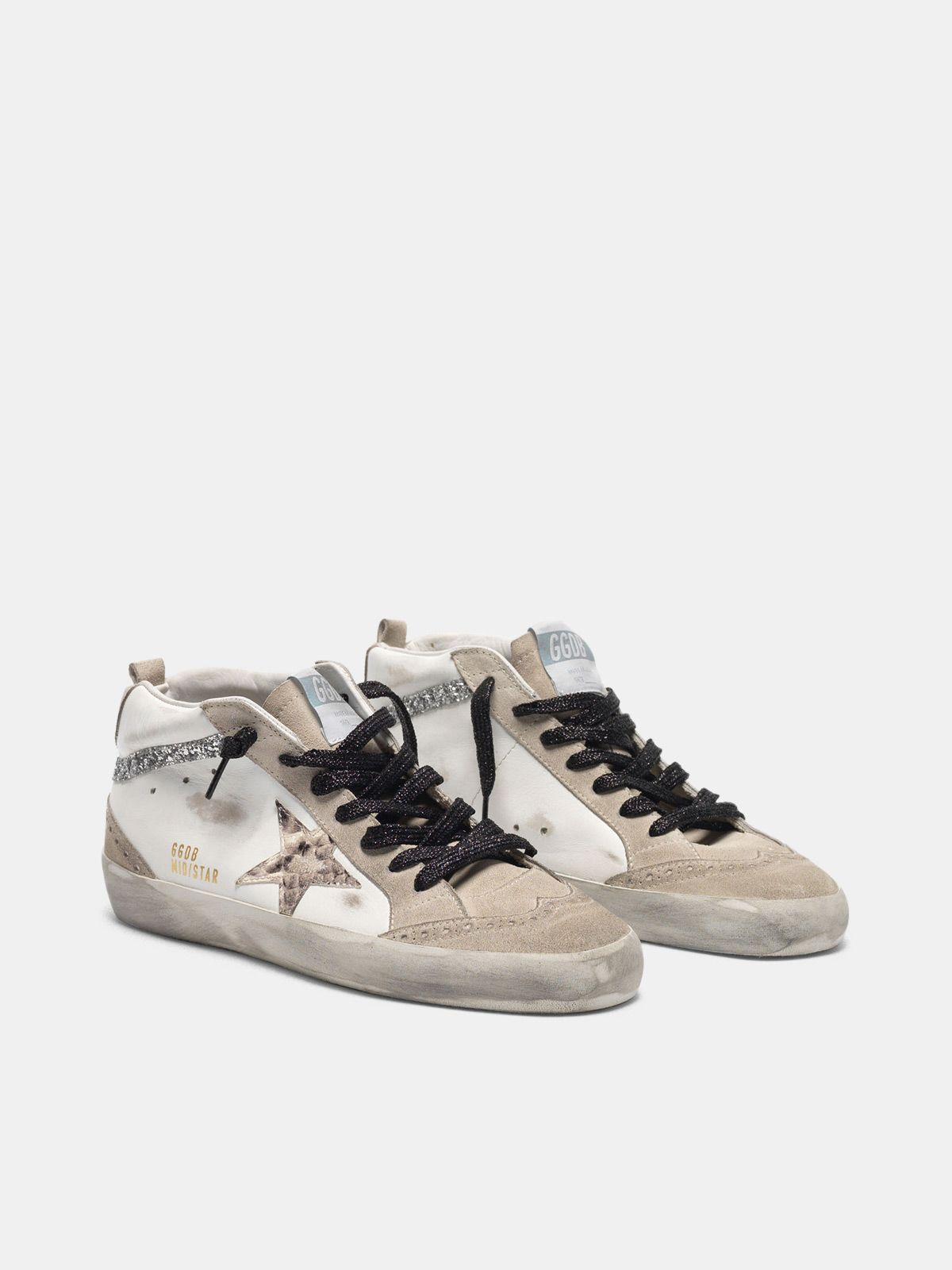 Golden Goose - Mid-Star sneakers in leather with snakeskin-print star and glitter inserts in