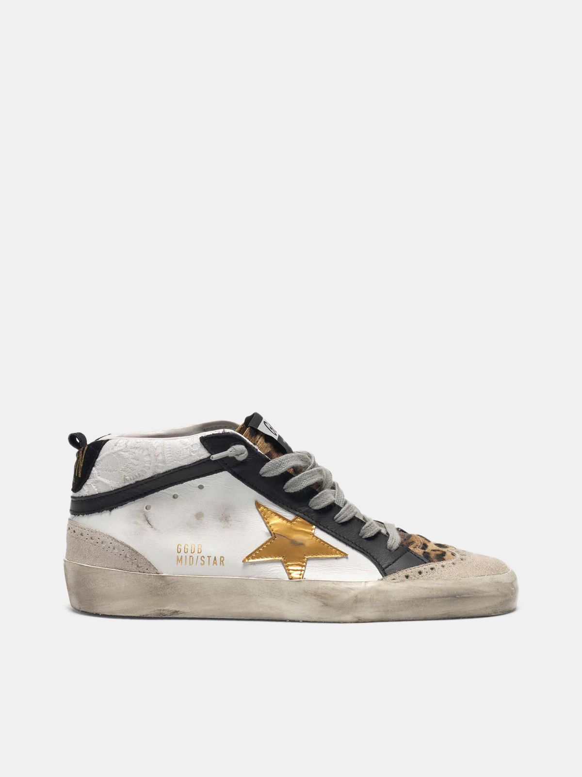 Golden Goose - White Mid-Star sneakers with leopard-print pony skin insert in