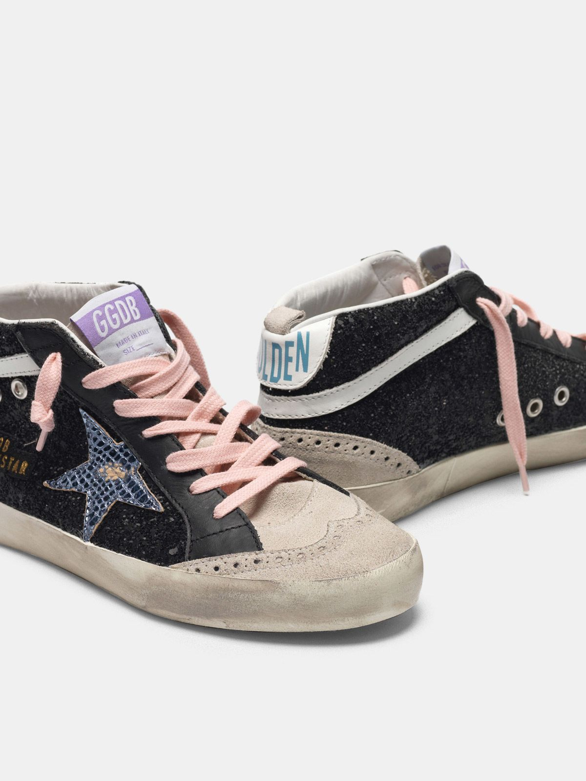 Golden Goose - Black Mid-Star sneakers with glitter and iridescent star in