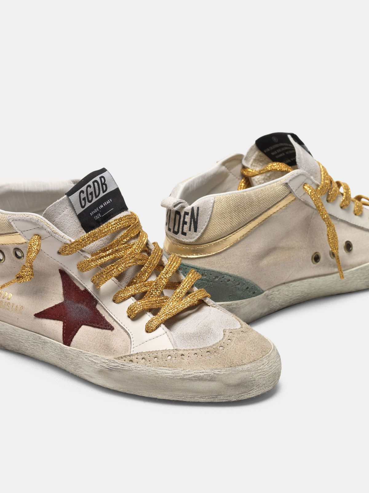 Golden Goose - Mid-Star sneakers in canvas with gold-coloured inserts and red star in