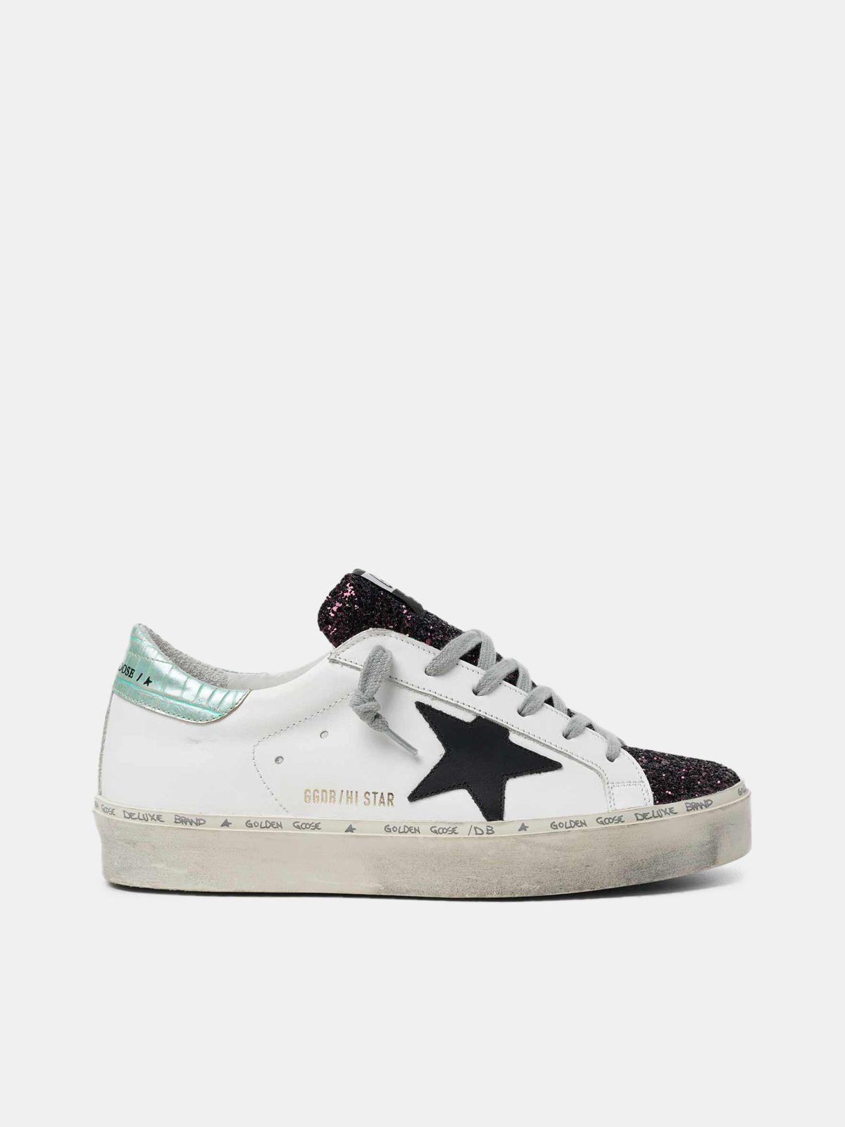 Sneakers Hi-Star blanches avec empiècement pailleté et étoile noire