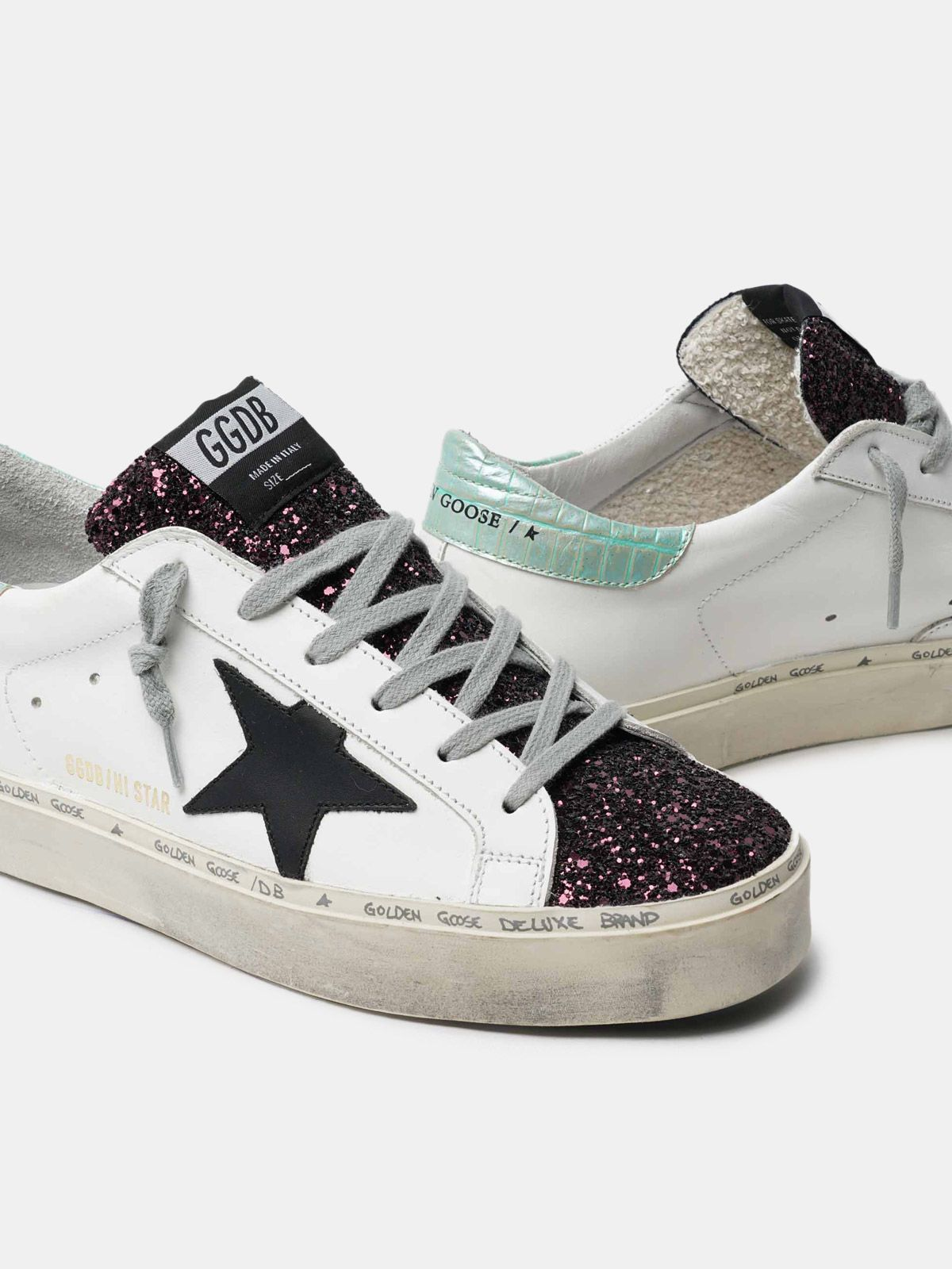 Golden Goose - White Hi-Star sneakers with glittery insert and black star in