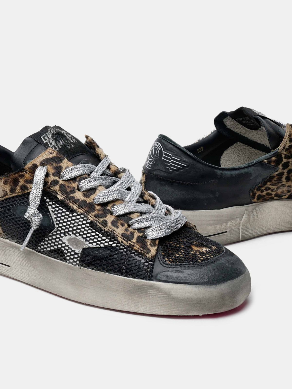 Golden Goose - Leopard-print Stardan sneakers with fuchsia sole in
