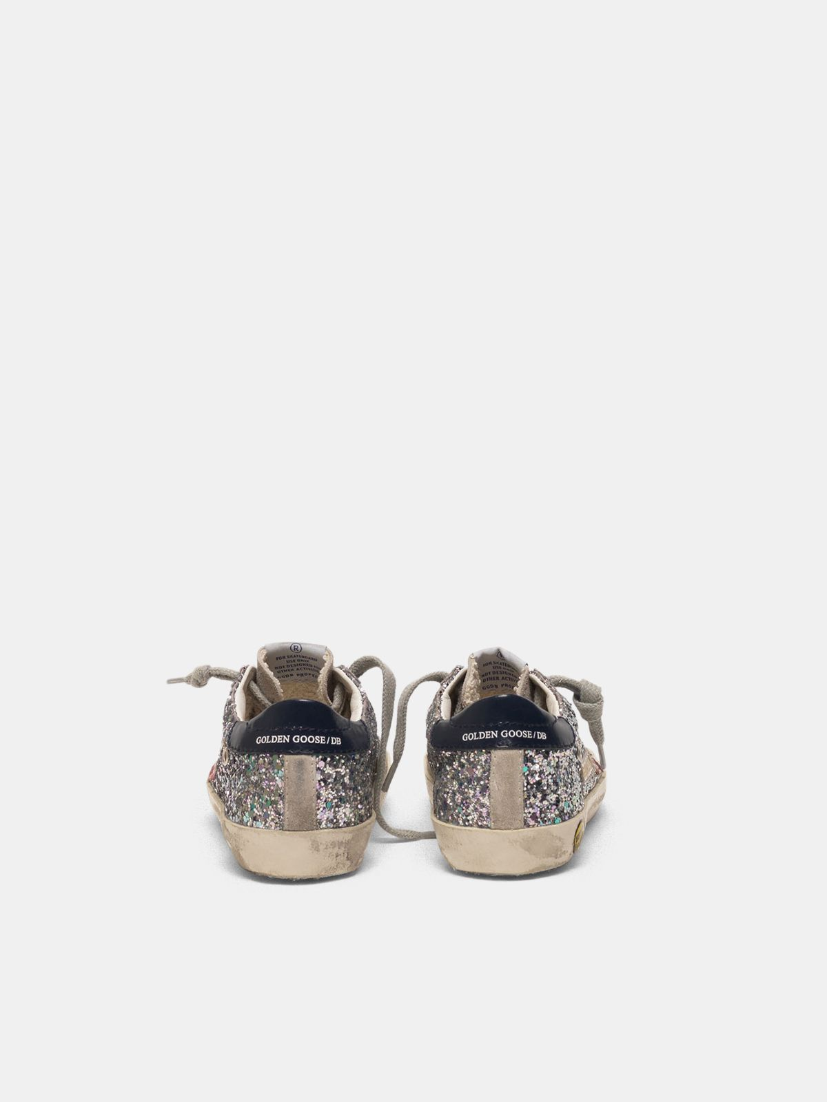 Golden Goose - Super-Star sneakers in glitter with pink star in