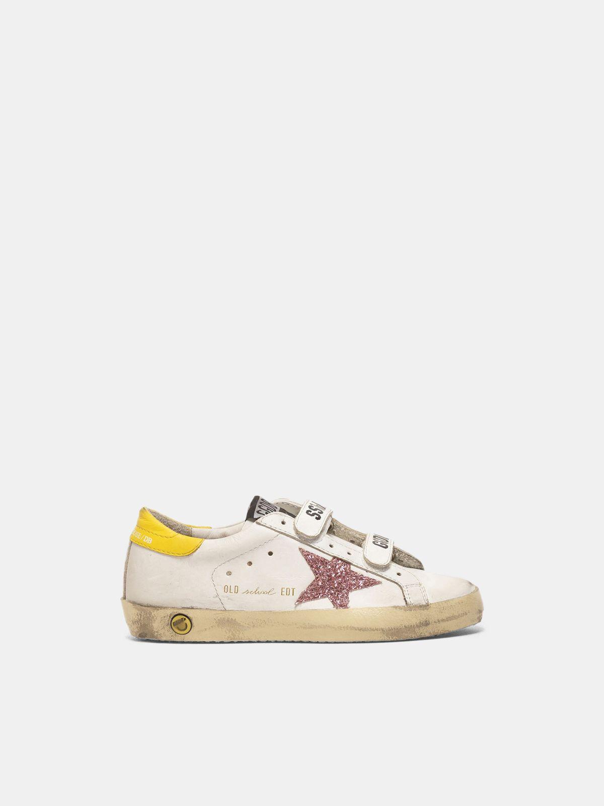 Sneakers Old School con stella glitter e talloncino giallo