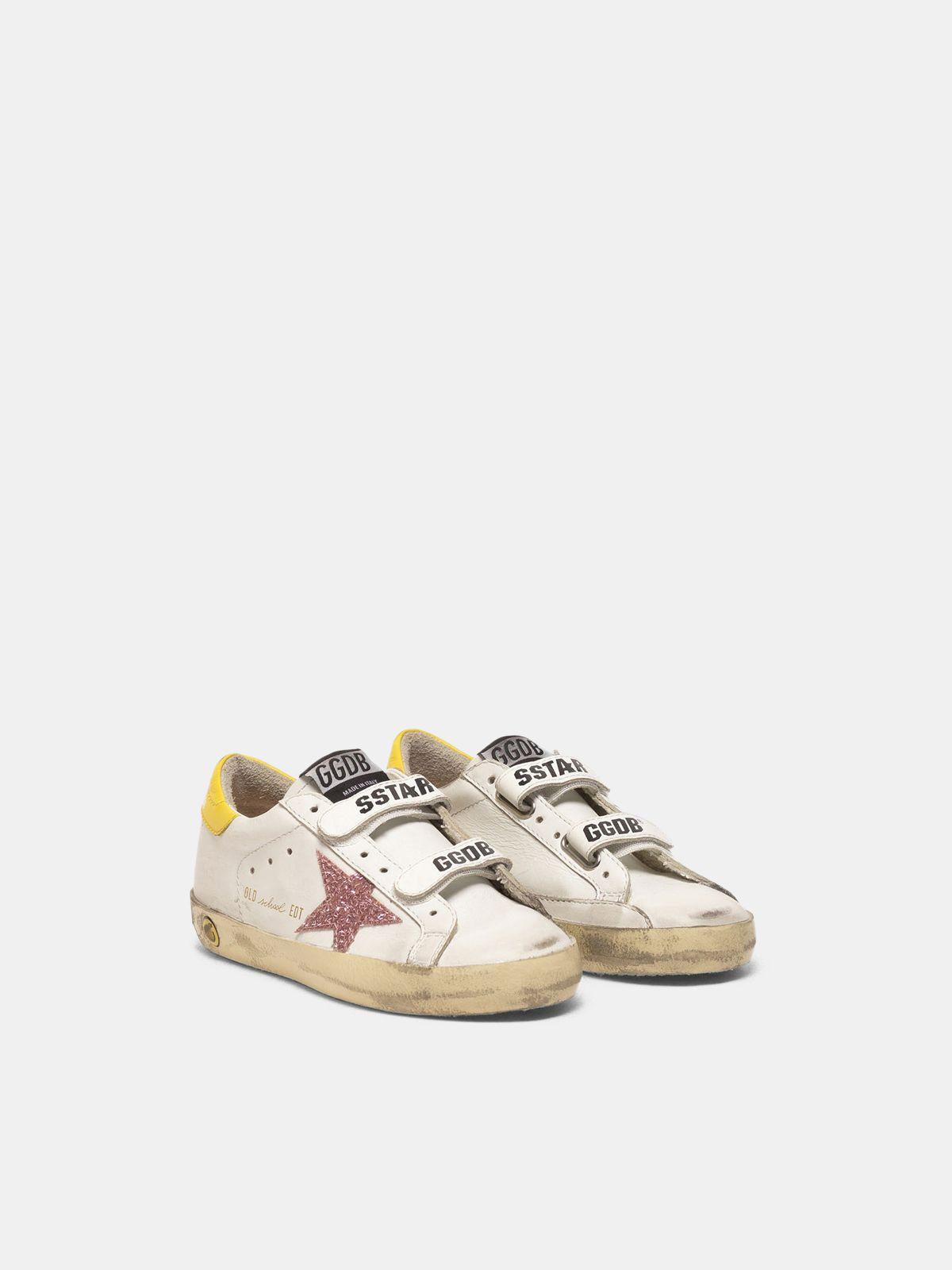 Golden Goose - Sneakers Old School con stella glitter e talloncino giallo in