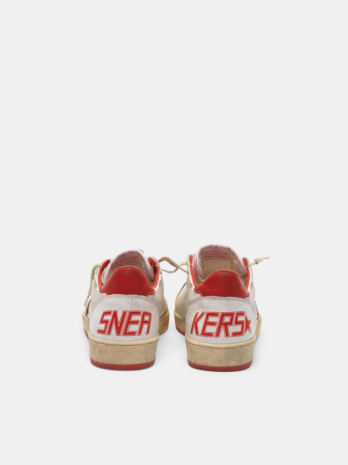 Golden Goose - Ball Star sneakers in leather with golden varnish on the front in