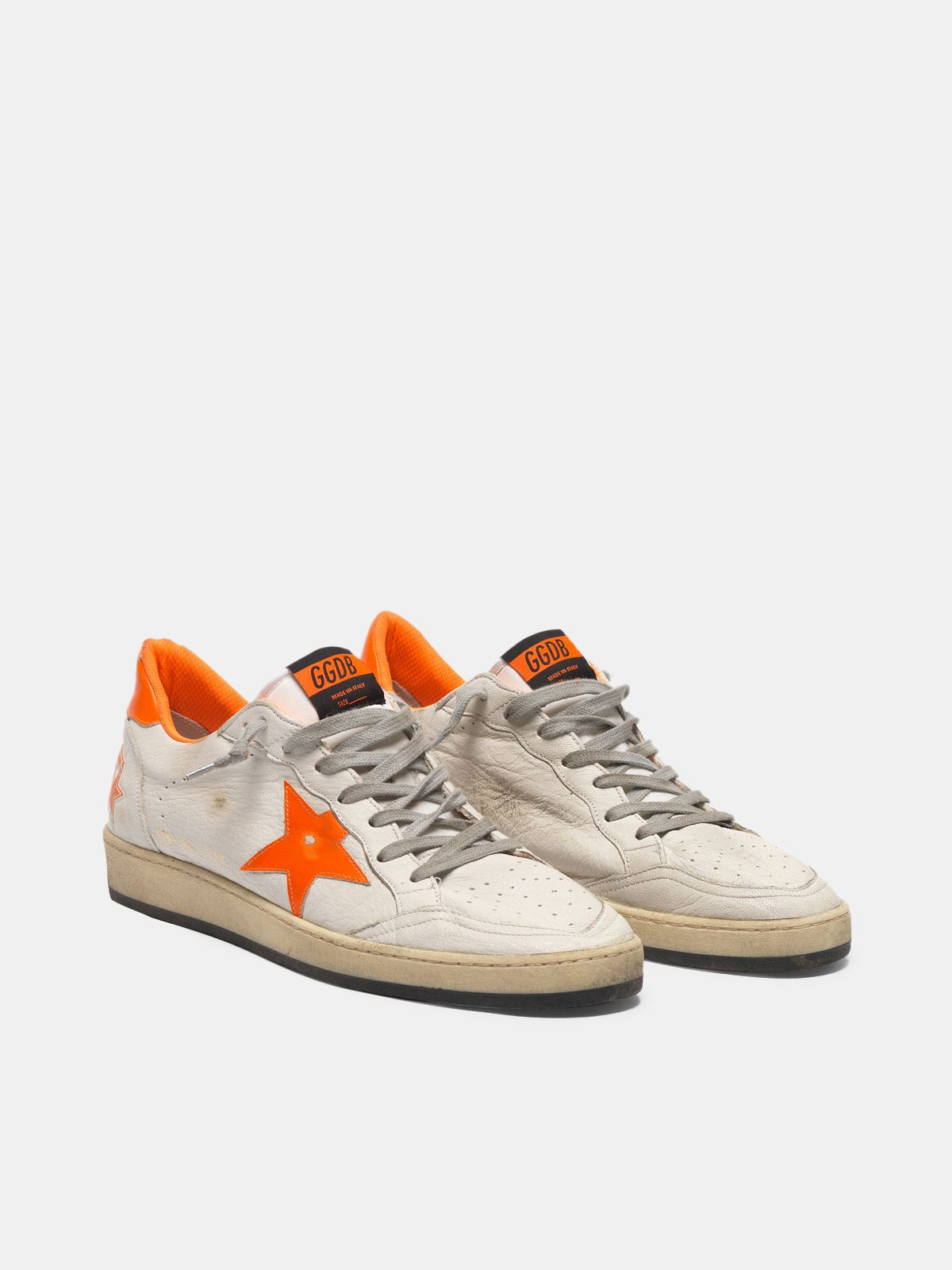 Golden Goose - Ball Star sneakers in leather with dayglow details and lining in