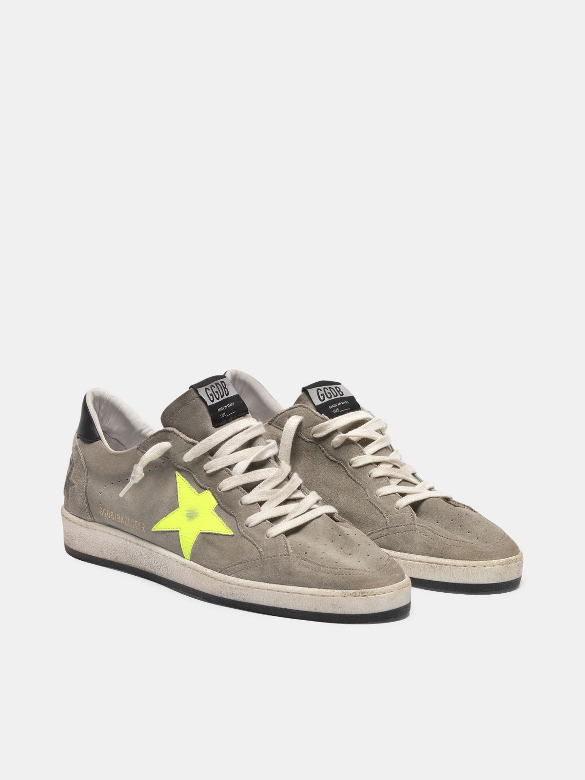 Golden Goose - Ball Star sneakers in grey suede with dayglow star in