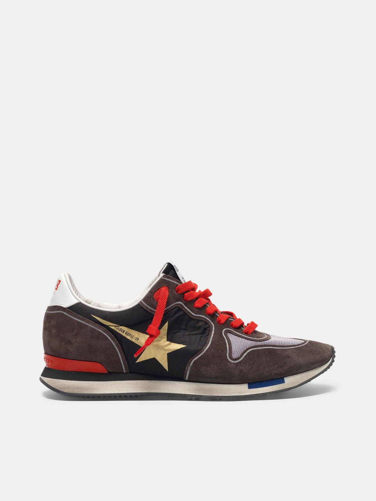 Golden Goose - Sneakers running in suede con inserto mesh e nylon in