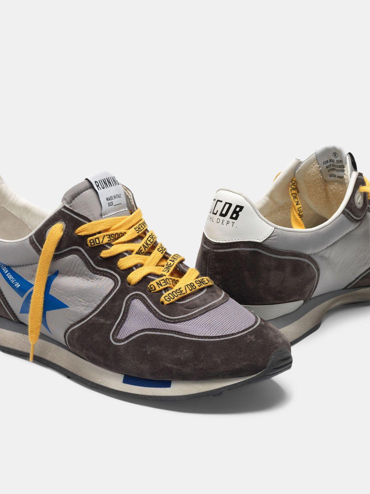Golden Goose - Running sneakers in suede with nylon and mesh insert in