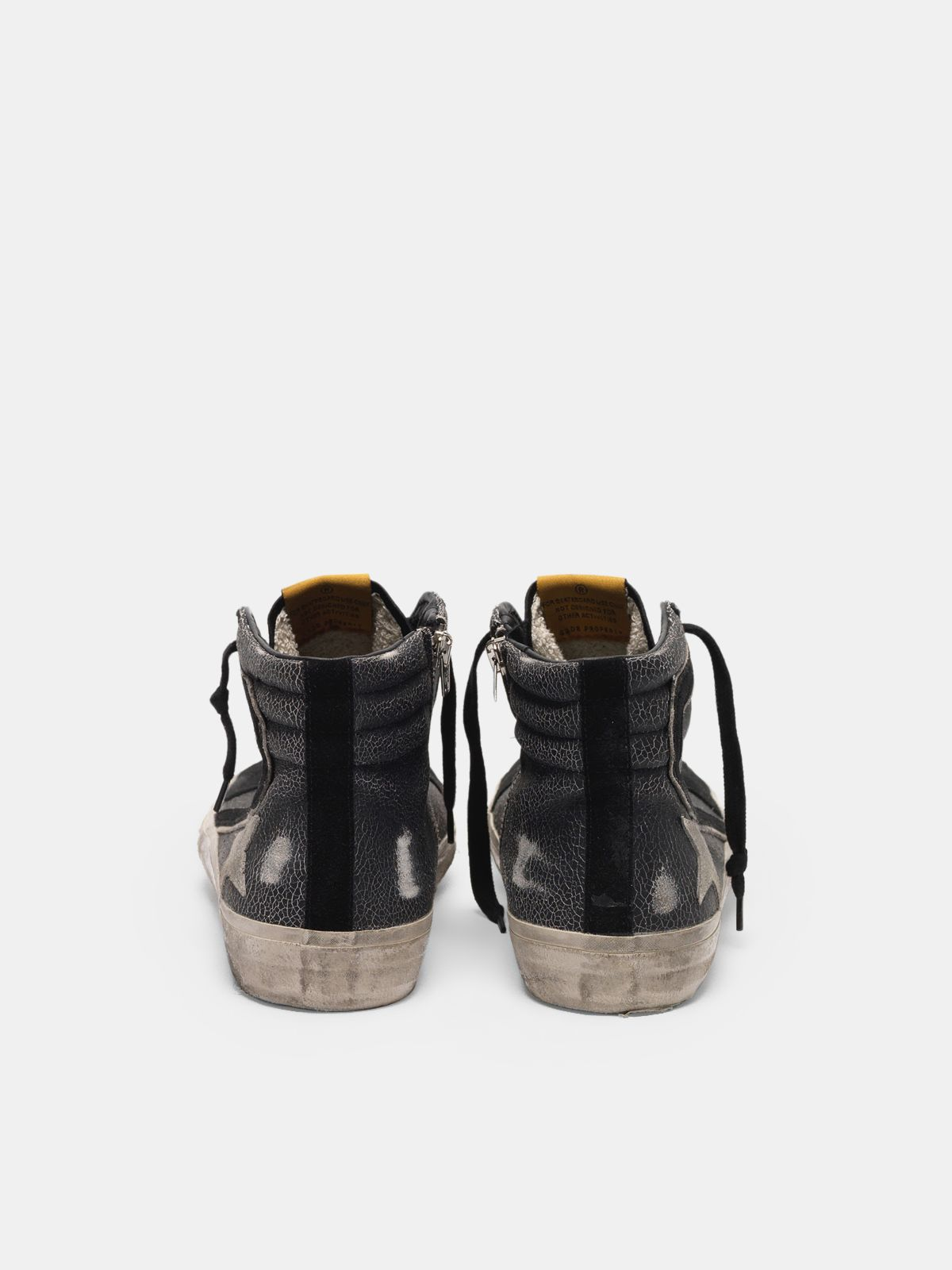 Golden Goose - Slide sneakers in crackle effect leather in